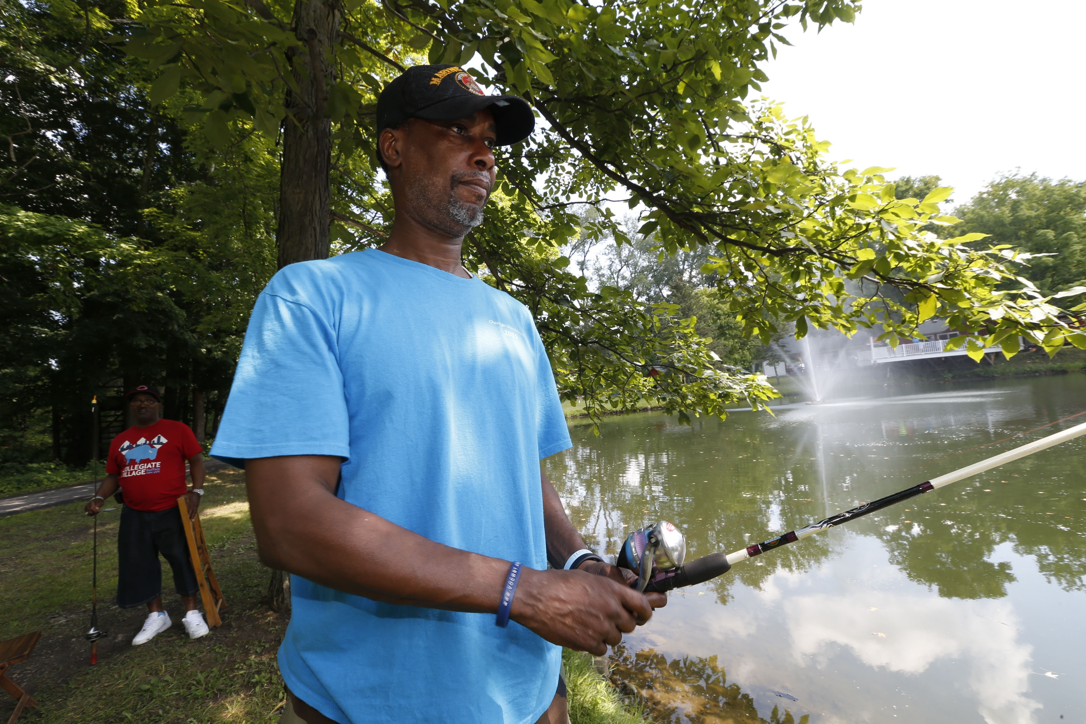 Former Marine Ronnie Jones Jr. was among the disabled veterans fishing Wednesday at the Elma Conservation Club.