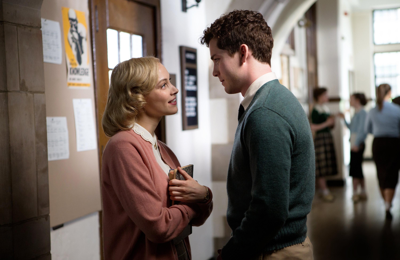 "Sarah Gadon and Logan Lerman star in ""Indignation."""