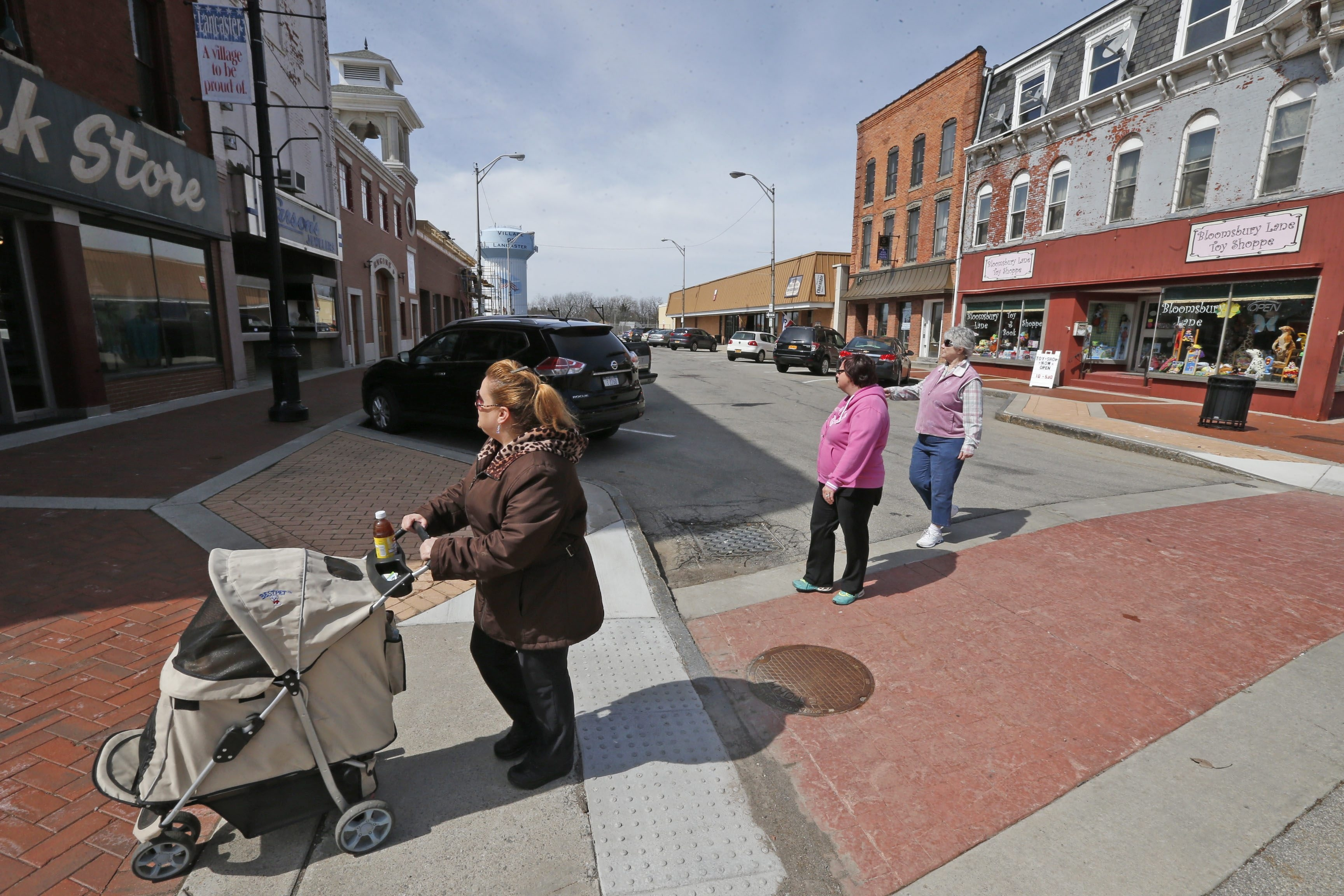 Main St. Lancaster, NY, a little dead end extension, used to be a little hotspot for retail and activity.  This was on Wednesday, March 30, 2016.  (Robert Kirkham/Buffalo News)