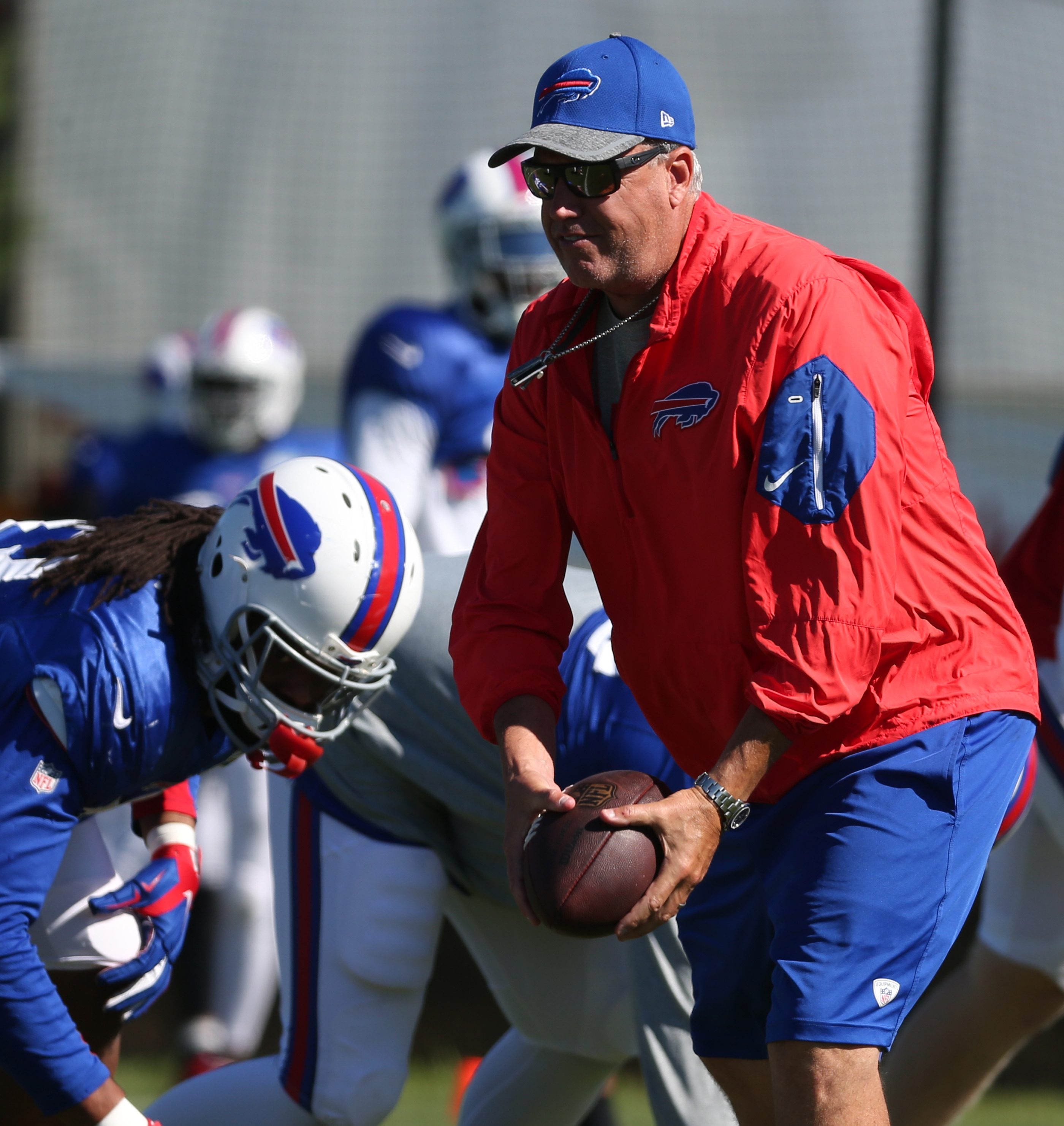 Buffalo Bills head coach Rex Ryan directs his team in a drill during the last day of training camp at St. John Fisher College in Pittsford,NY on Tuesday, Aug. 23, 2016.  (James P. McCoy/ Buffalo News)