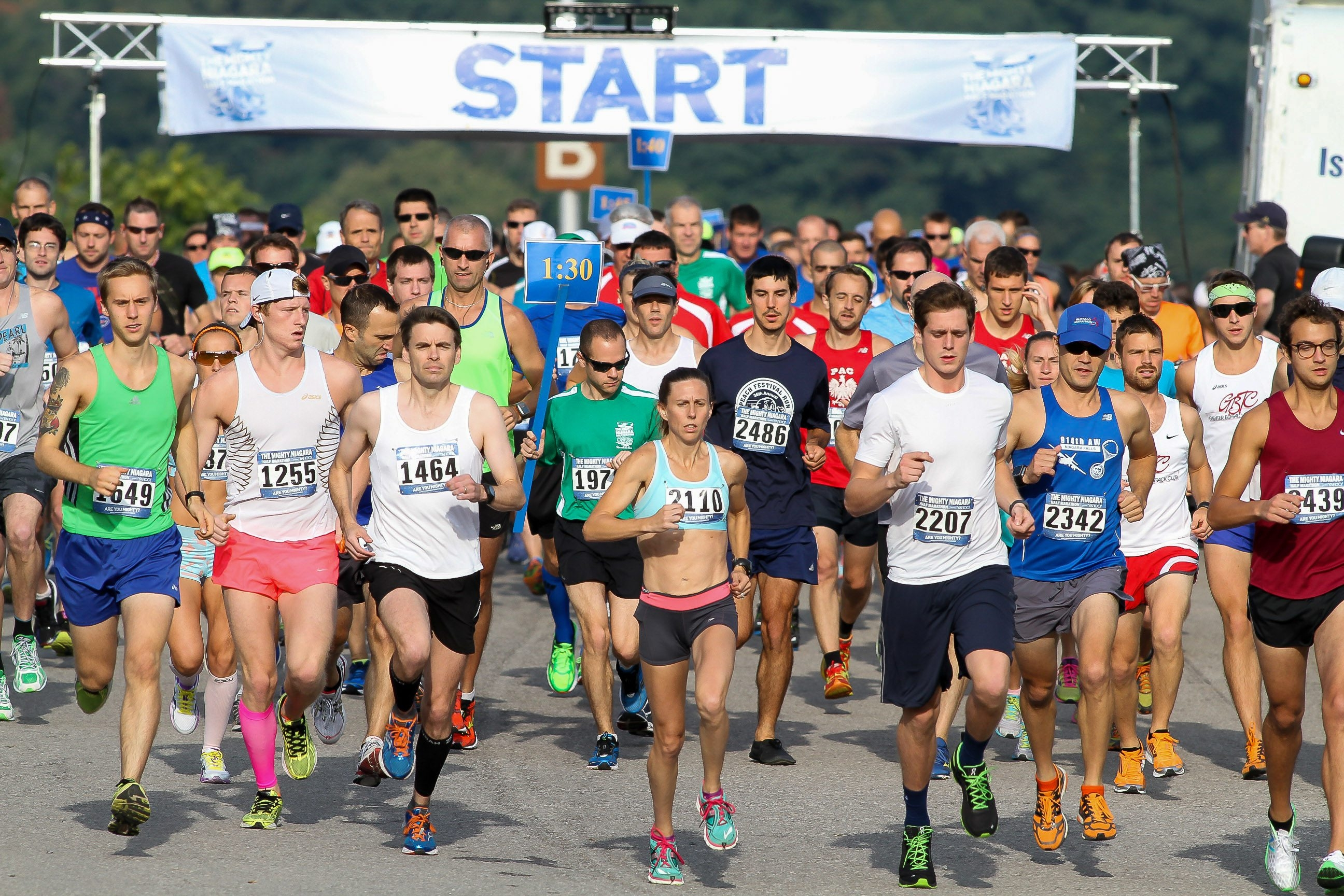Half marathon runners stepped off smartly from the starting line in a previous race.