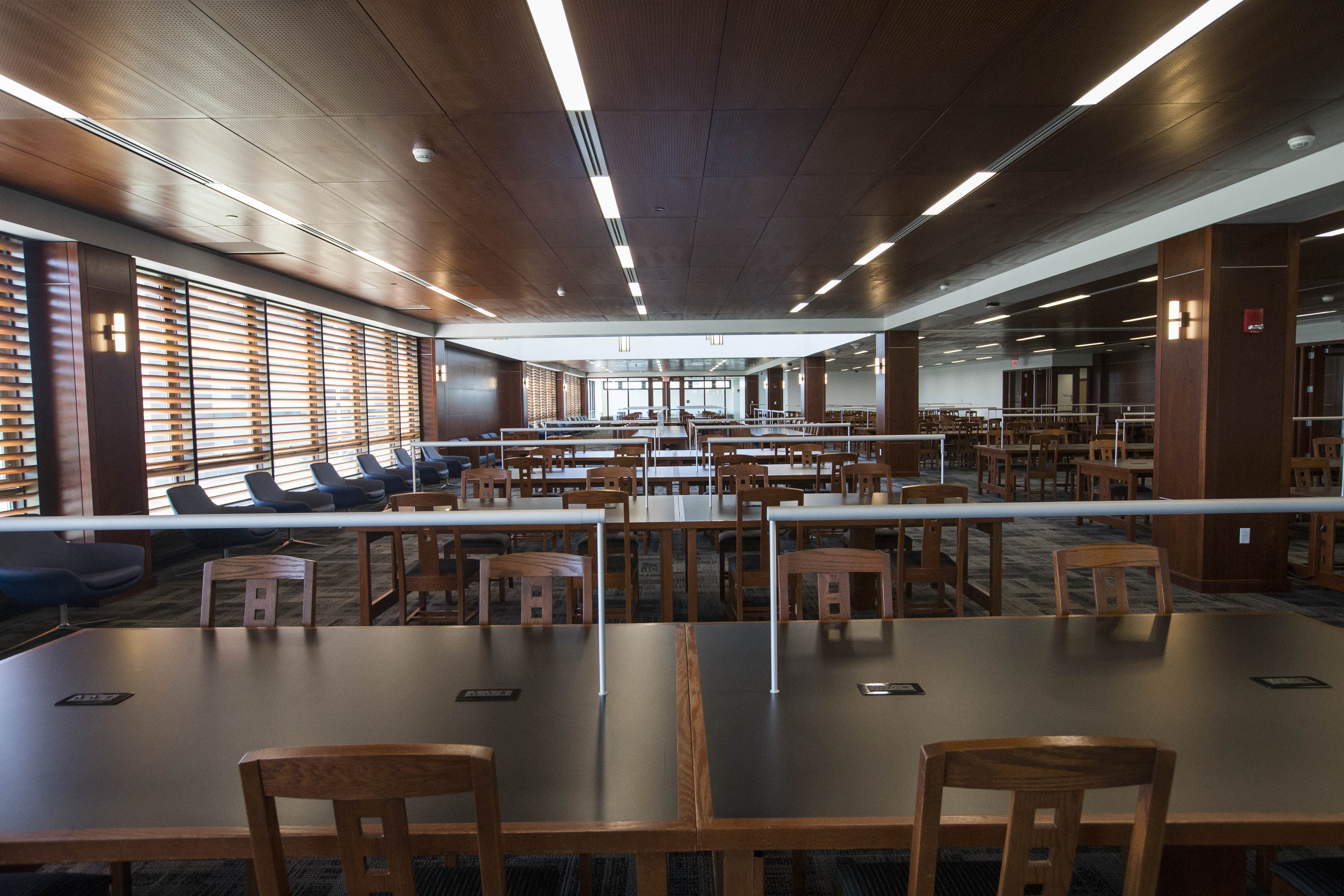 The Grand Reading Room in the newly renovated Silverman Library at UB, which is opening after a $7 million overhaul, Wednesday, Aug. 24, 2016.  (Derek Gee/Buffalo News)
