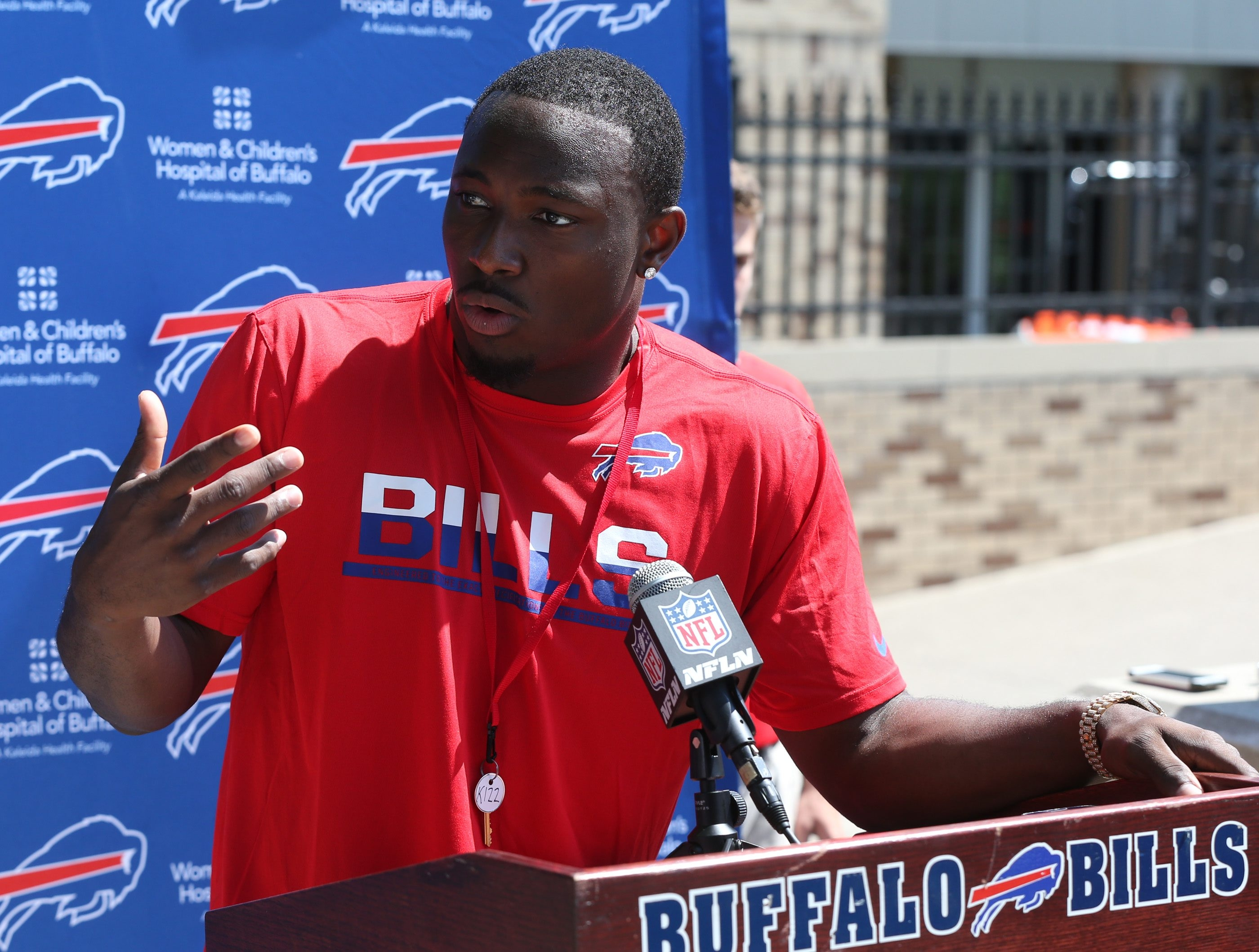 Bills running back LeSean McCoy (25) talks to the media at St. John Fisher College in Pittsford on July 29. (James P. McCoy/News file photo)