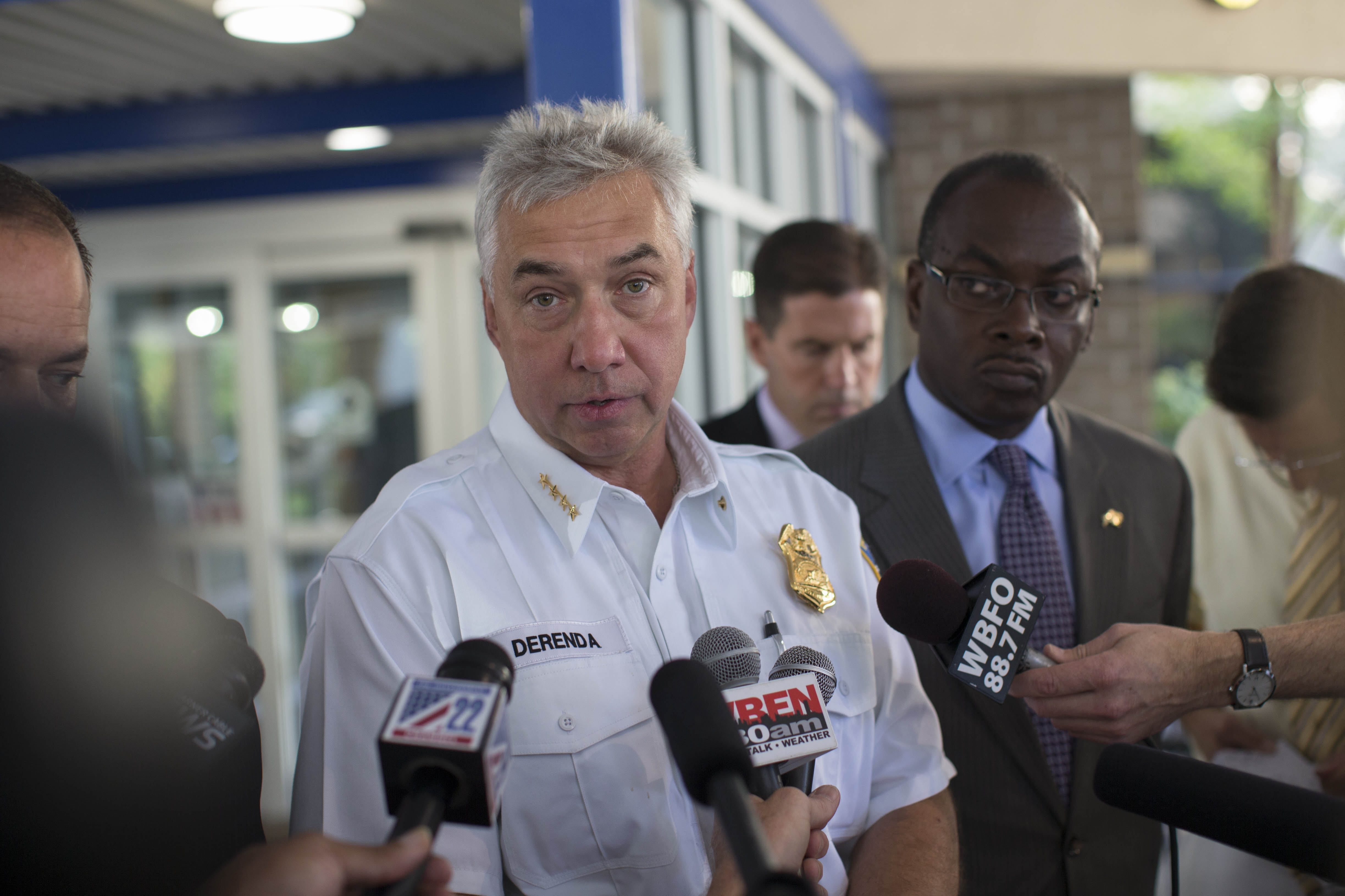 Buffalo Mayor Byron Brown and Police Commissioner Daniel Derenda hold a press conference concerning the shooting last night of 8-year-old Donnell Bibbes outside Children's Hospital, where the boy is listed in critical condition and is currently undergoing his second surgery, Friday, Aug. 26, 2016.  (Derek Gee/Buffalo News)