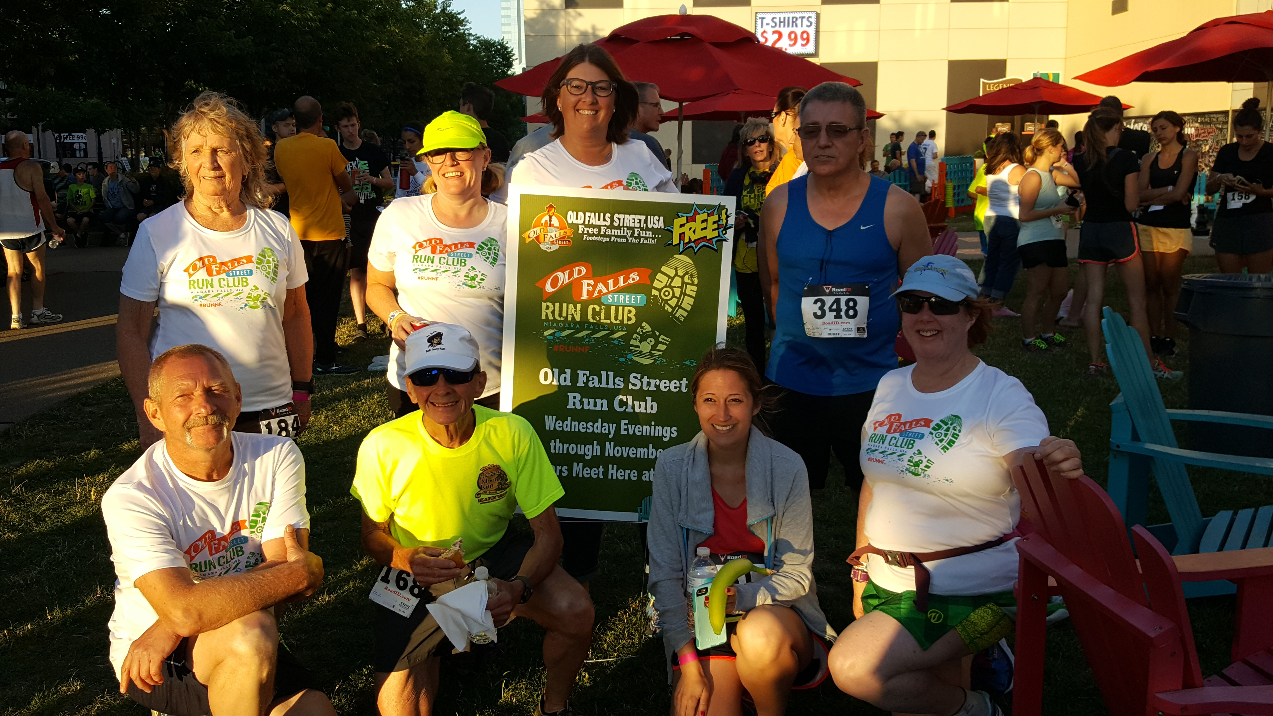 Old Falls Street Run Club stalwarts include, bottom row from left, Harvey Lewis, Jack Matheson, Angelle Phillips and Deb Meier; top row, from left, Fran Rowe, Tracey Maciejewski, Jessica Stankiewicz and Jim Sullivan.
