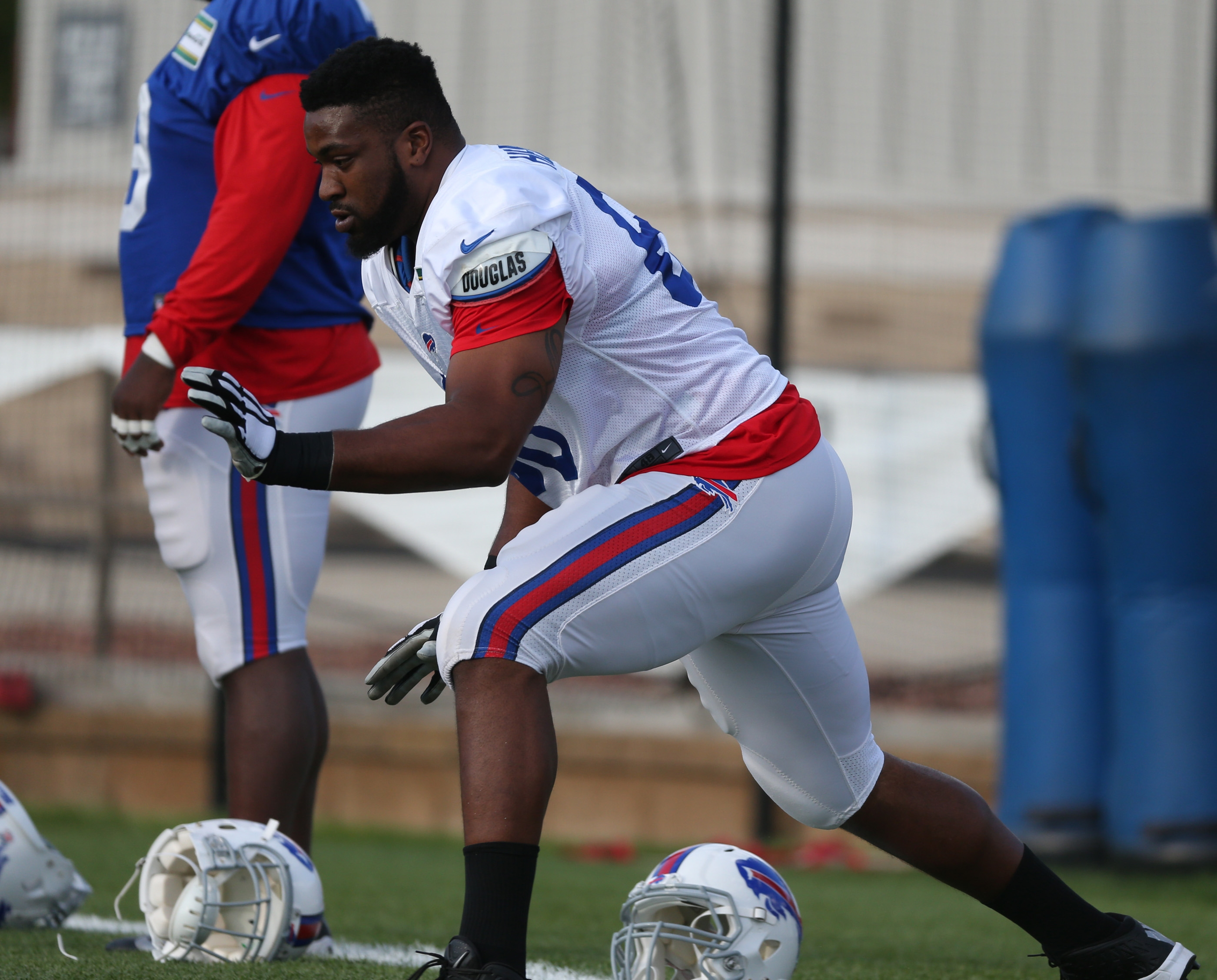 Buffalo Bills tackle Seantrel Henderson (66) returned to practice for the first time at St. John Fisher College in Pittsford,NY on Monday, Aug. 22, 2016.  (James P. McCoy/ Buffalo News)
