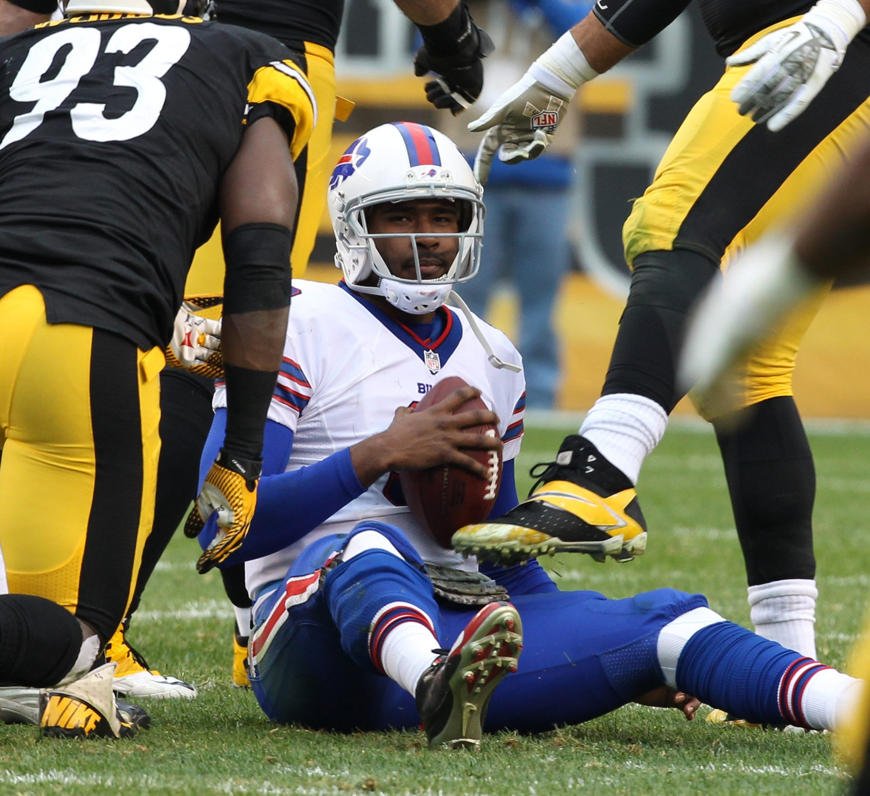 EJ Manuel after a sack during a loss at Pittsburgh in 2013. The Steelers visit Buffalo this year in Week 14.