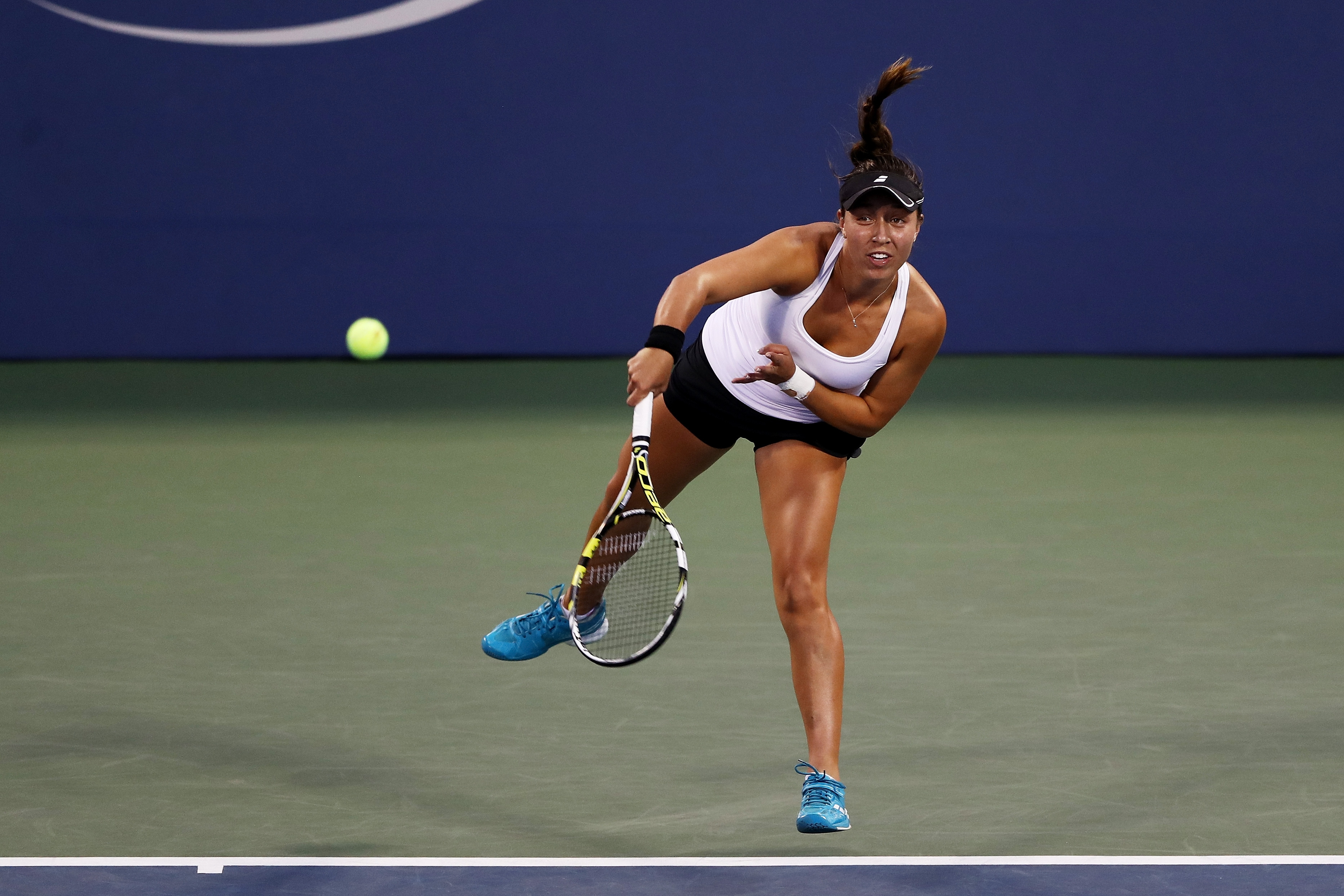 Jessica Pegula serves to Agnieszka Radwanska of Poland during her first round women's singles match Tuesday in the U.S. Open.