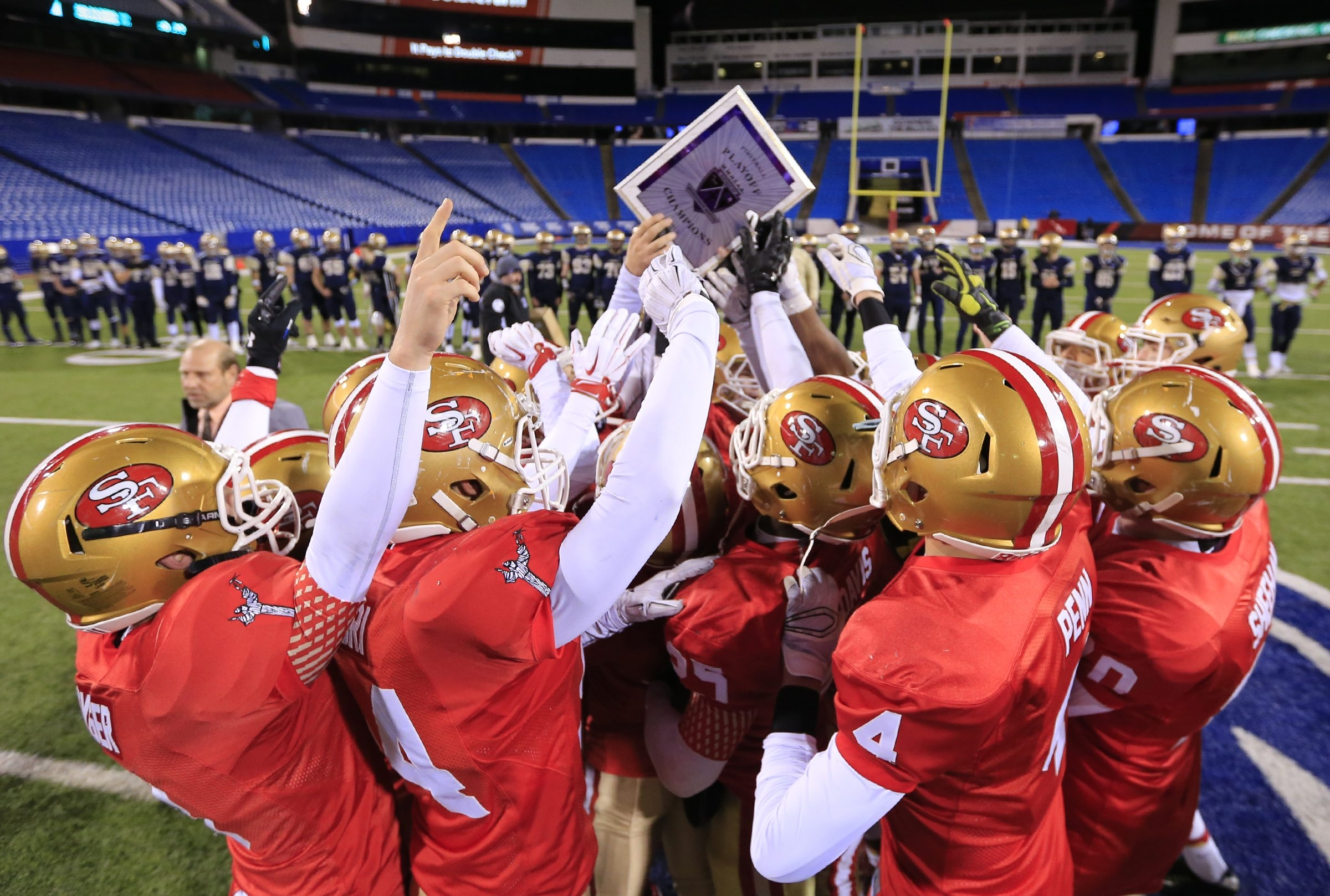 St. Francis celebrates a victory over Canisius in last year's final.