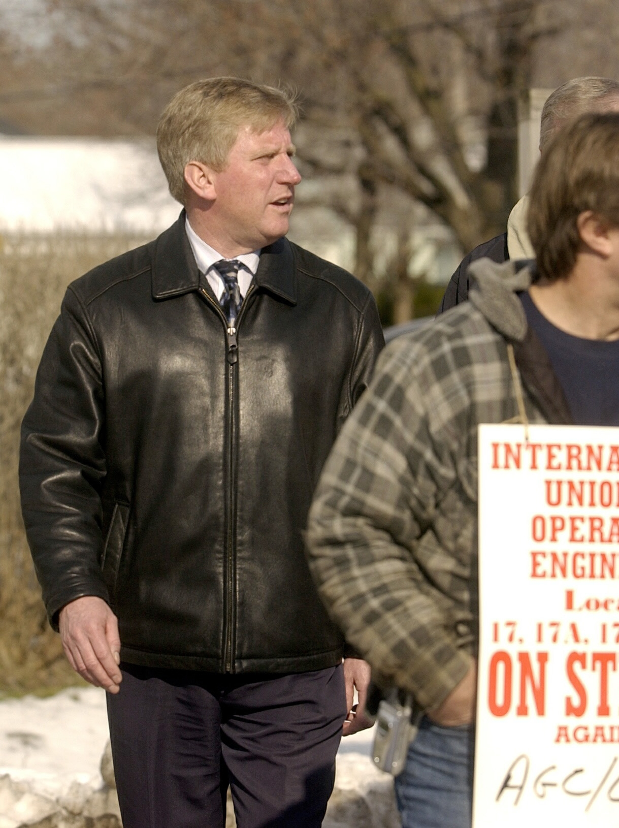Mark Kirsch walks a picket line with members at the entrance of Union Concrete Counstruction in West Seneca in 2005. (News file photo)