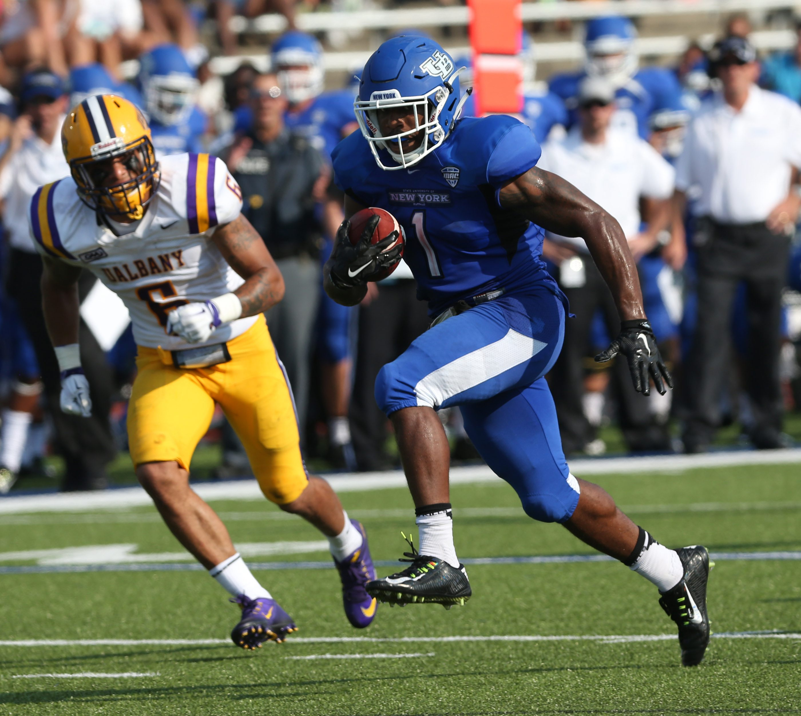 UB is aiming for another big win over Albany in its season opener. (James P. McCoy/ Buffalo News)