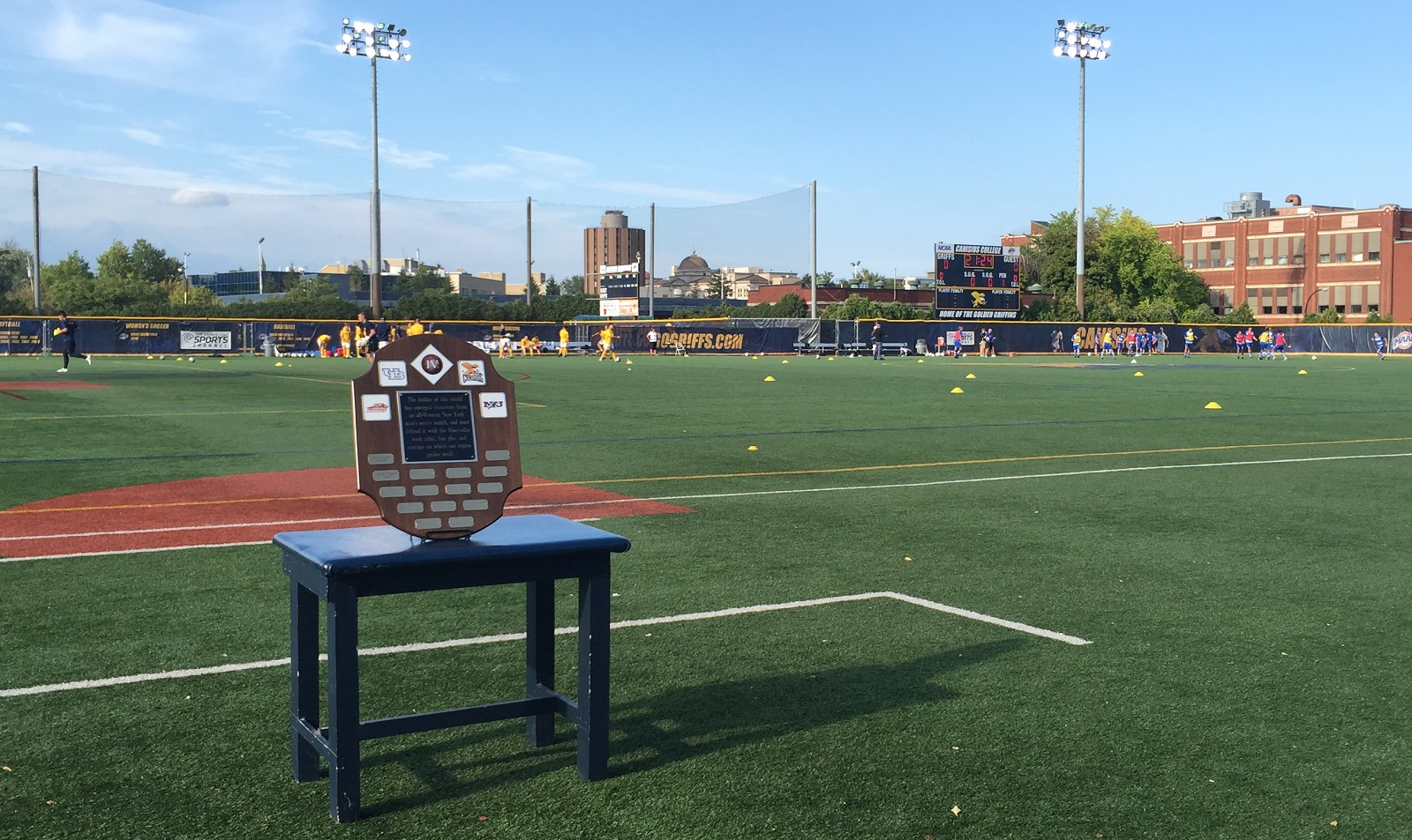 The Big 4 Shield sits on a table at the Demske Sports Complex as both teams warm up. (Ben Tsujimoto/Buffalo News)