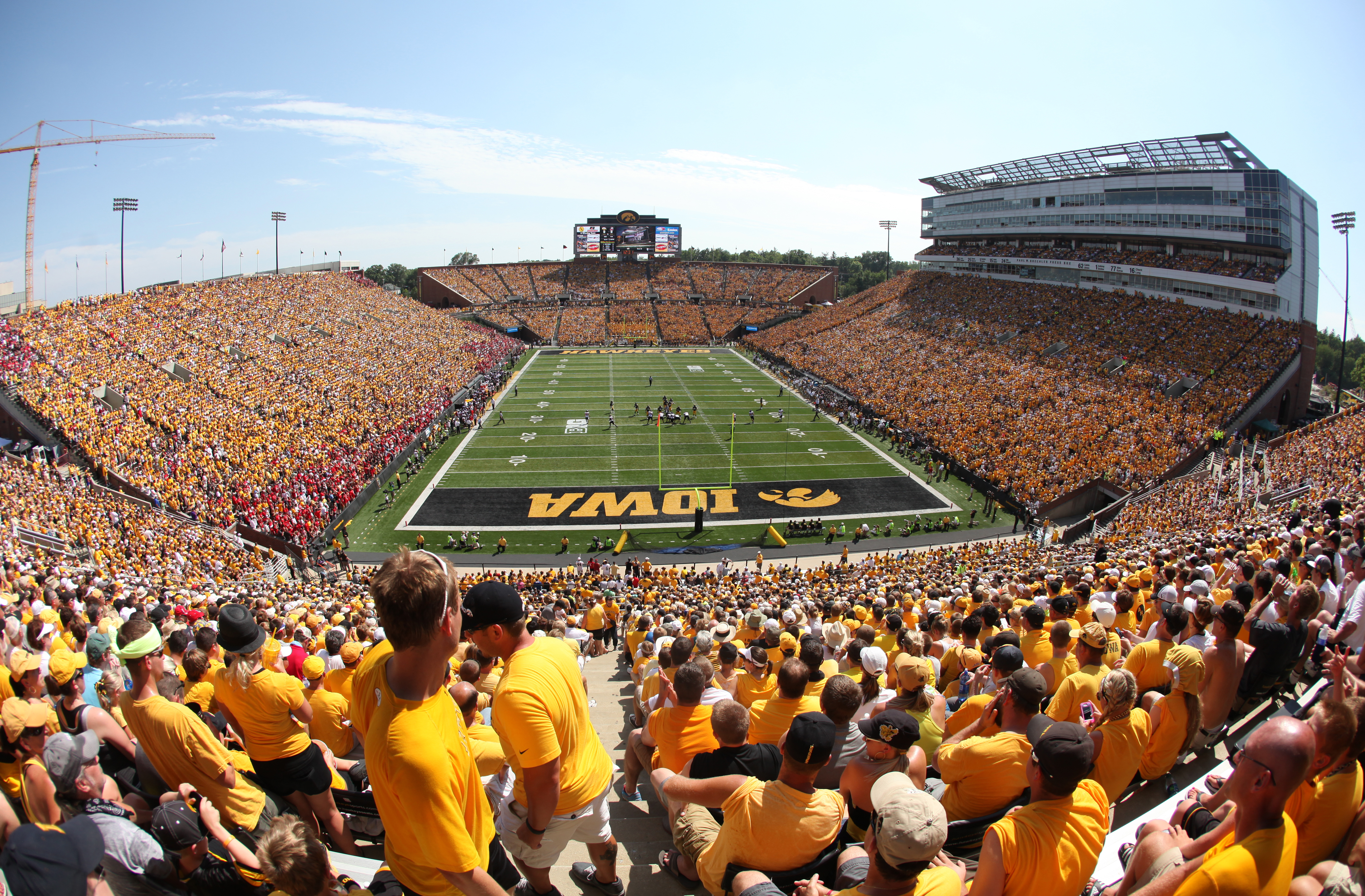 IOWA CITY, IOWA- AUGUST 31: General view as fans settle in to watch the match-up between the Iowa Hawkeyes and the Northern Illinois Huskies during the first quarter on August 31, 2013 at Kinnick Stadium in Iowa City, Iowa. Northern Illinois won 30-27. (Photo by Matthew Holst/Getty Images)