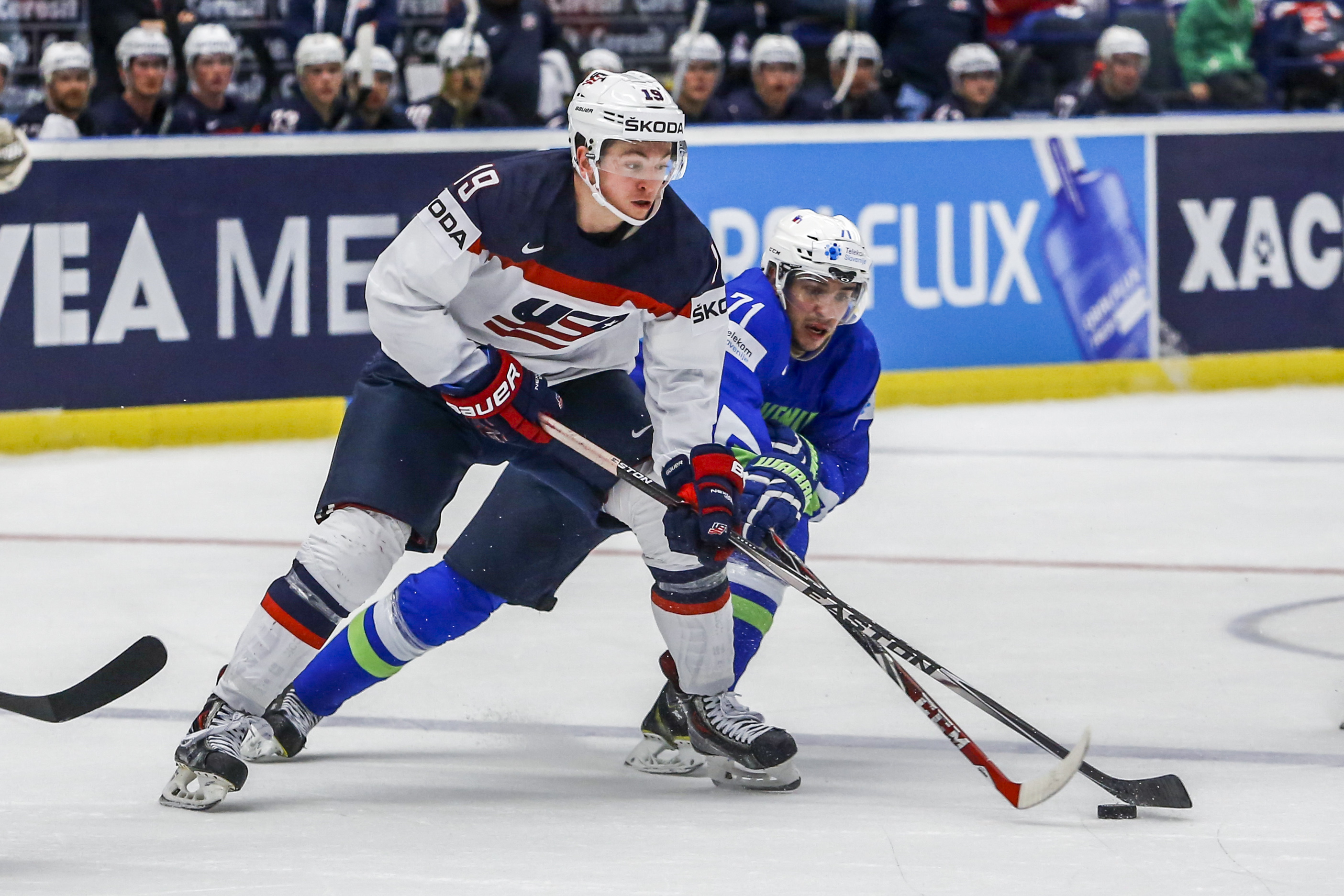 Jimmy Vesey battles for the puck for the U.S. team during the 2015 IIHF World Championship tournament in Ostrava, Czech Republic. (Getty Images)