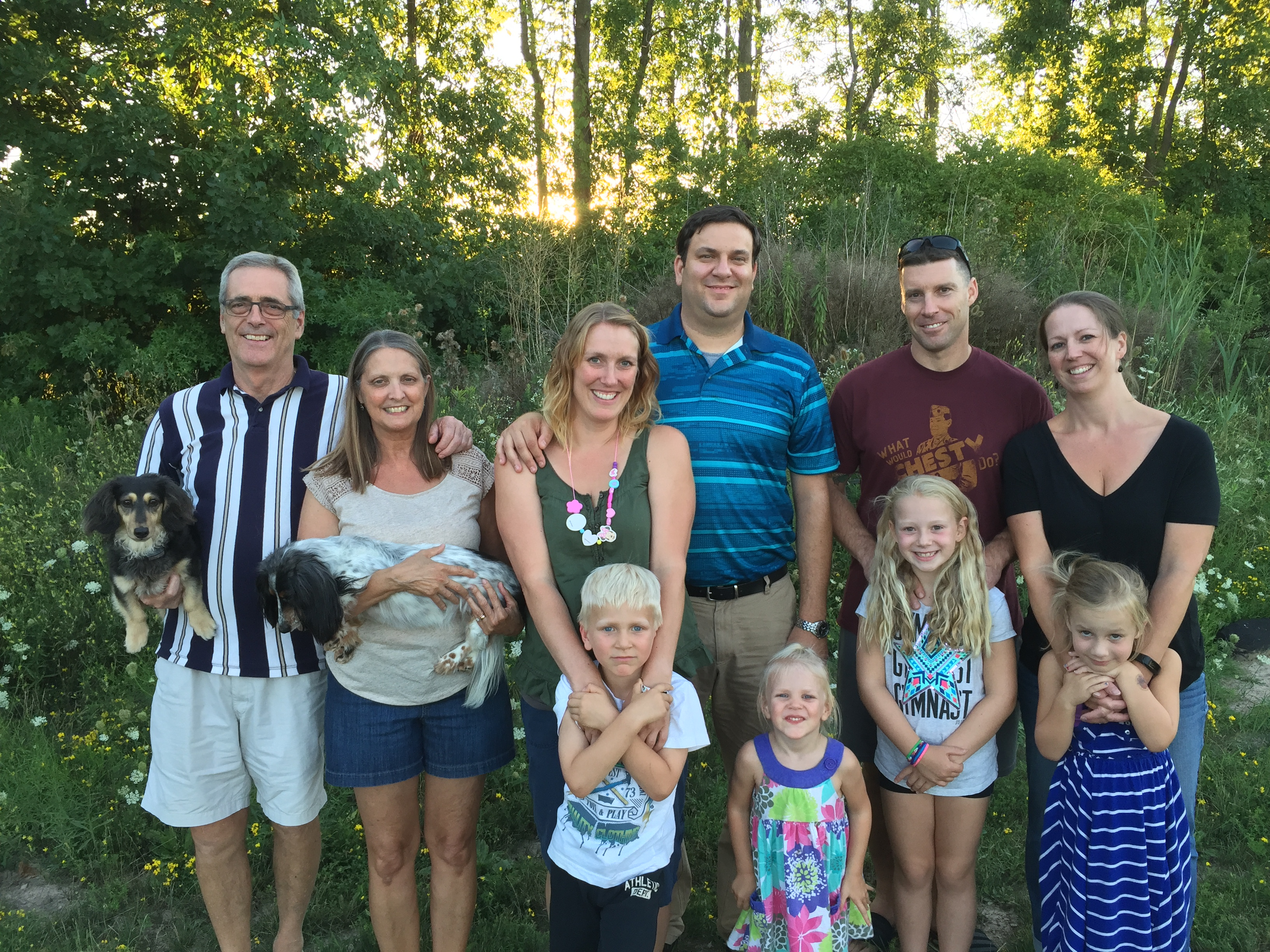 The Kemp family, from left: Ron, Ginny, daughter Christine Cappuzo, grandson Dominic, Christine's husband Marc, granddaughter Liana, son-in-law Ken Scholz, granddaughter Kaitlyn, daughter Amanda Scholz, granddaughter Kara.