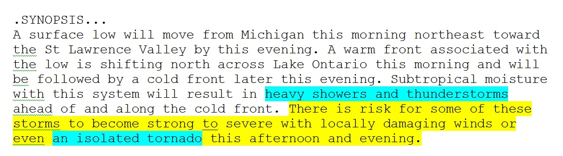 Synopsis from this morning's area forecast discussion from the National Weather Service in Buffalo.