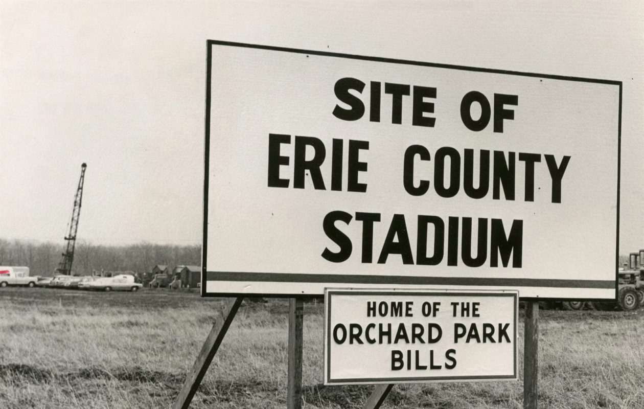 Before it was New Era Field, or even the Ralph, signs proclaimed this spot in Orchard Park simply the site of the 'Erie County Stadium.' (News file photo)