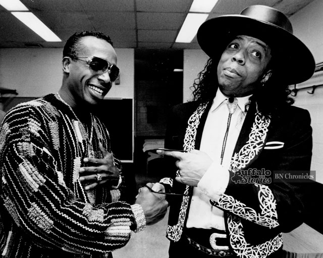"MC Hammer and Rick James stop feuding, and meet before Hammer's concert at The Aud, 1990. The two battled after Hammer's hit ""U Can't Touch This"" sampled music from James' hit ""Super Freak."" (Buffalo News archives.)"
