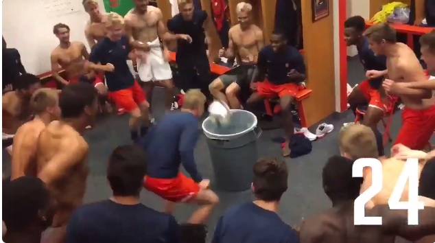 Sweet Home grad Liam Callahan heads the ball into the garbage can, completing 25 consecutive headers, one to each teammate. (Screenshot from Twitter)