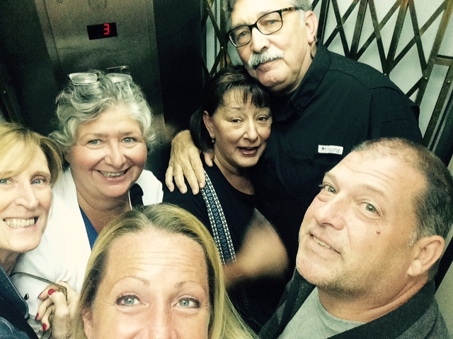 An elevator selfie before dinner. (Photo courtesy of Nancy B. Anderson)