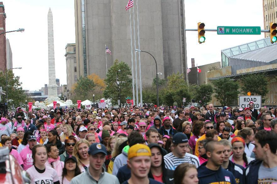This year's Making Strides Against Breast Cancer Walk is Oct. 15 at Canalside. As many as 10,000 people have participated in previous walks. (Sharon Cantillon/Buffalo News file photo)
