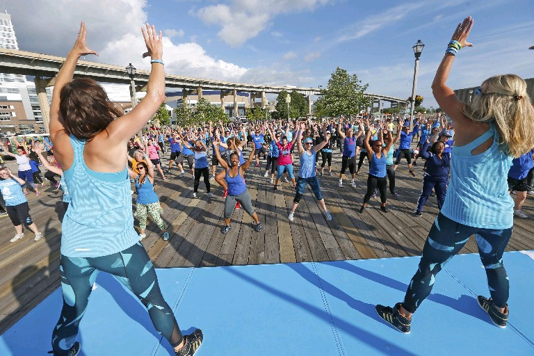 The Zumba class is one of the most popular during summers at Canalside. (Robert Kirkman/Buffalo News)
