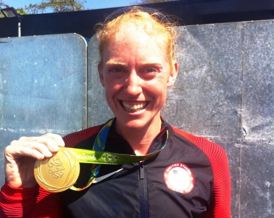 Emily Regan shows off her gold medal. (News file photo)