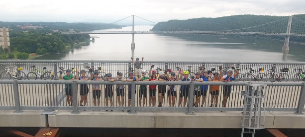 Empire State Ride participants take a breather over the Hudson River.