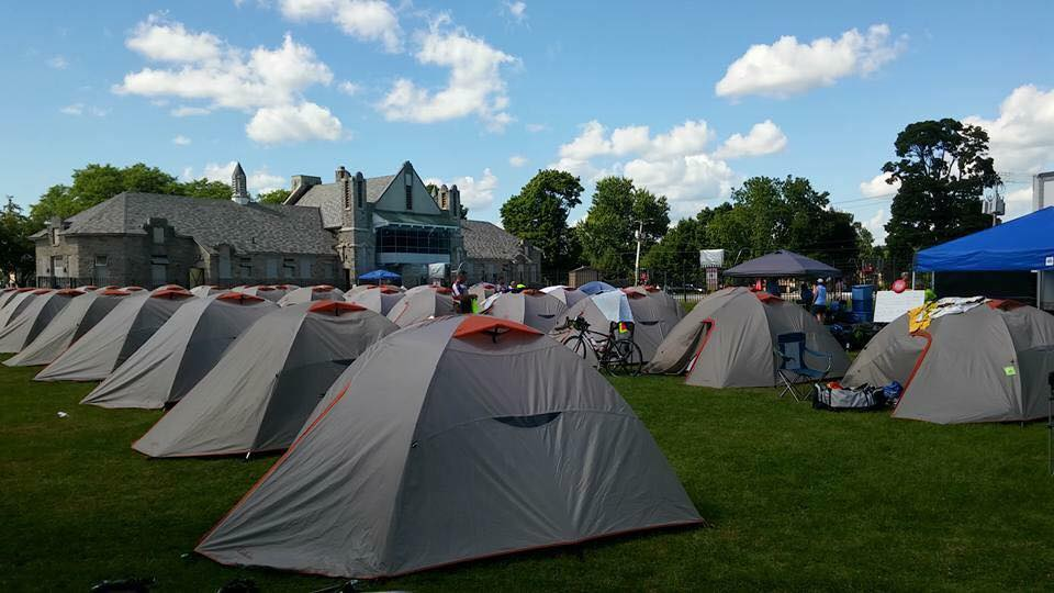 Riders raising money for Roswell Park Cancer Institute are put up in tents overnights during the weeklong Empire State Ride. (Courtesy of Steve Mars)
