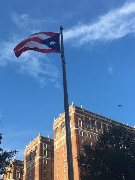 Raising the Puerto Rican flag