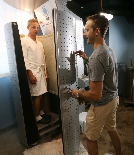 First-time customer Rich Babcock has a session with Buffalo Cryo co-owner and strength and conditioning coach Patrick Connors. It costs $25 for a first treatment at the outfit in the Fairmount Creamery Building.