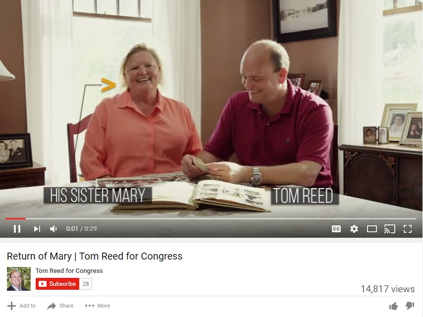 A screenshot of a commercial Rep. Tom Reed released featuring his sister Mary.