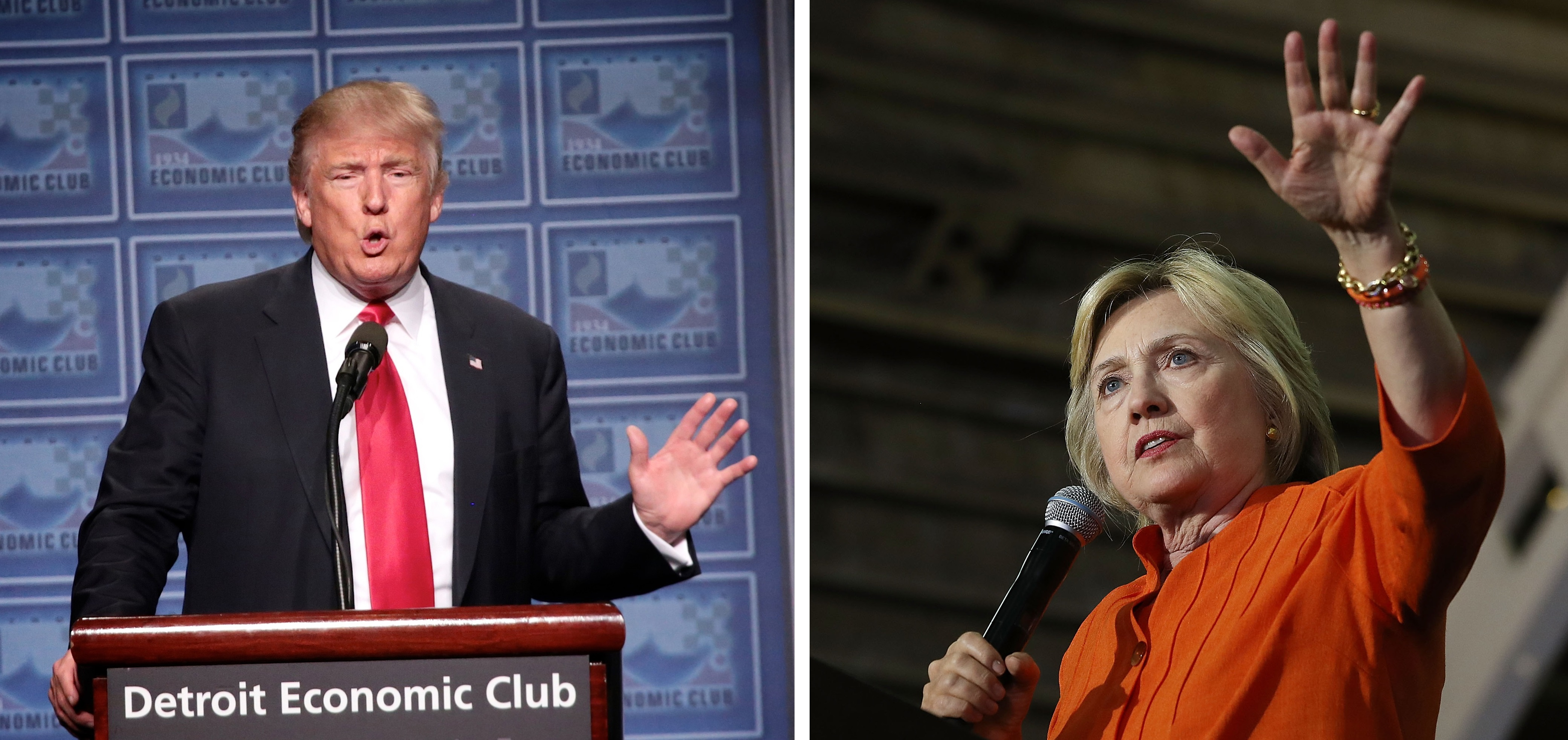 Both Donald Trump and Hillary Clinton will be talking about their visions for the economy on the campaign trail this week. (Detroit Free Press and Getty Images)