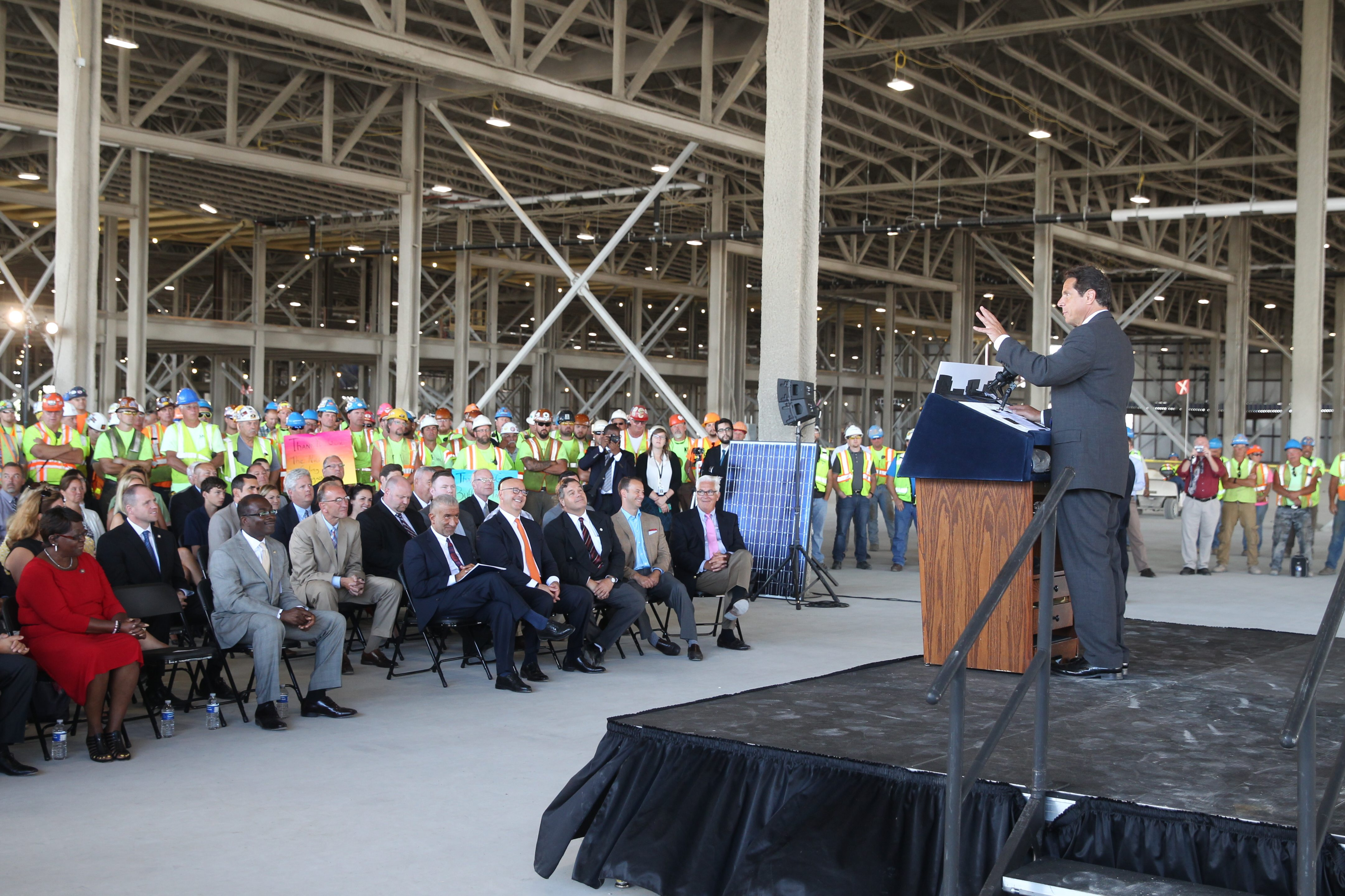 Gov. Andrew Cuomo speaks at a topping off ceremony at Solar City in Buffalo, N.Y., on Thursday, July 30, 2015. (John Hickey/Buffalo News)