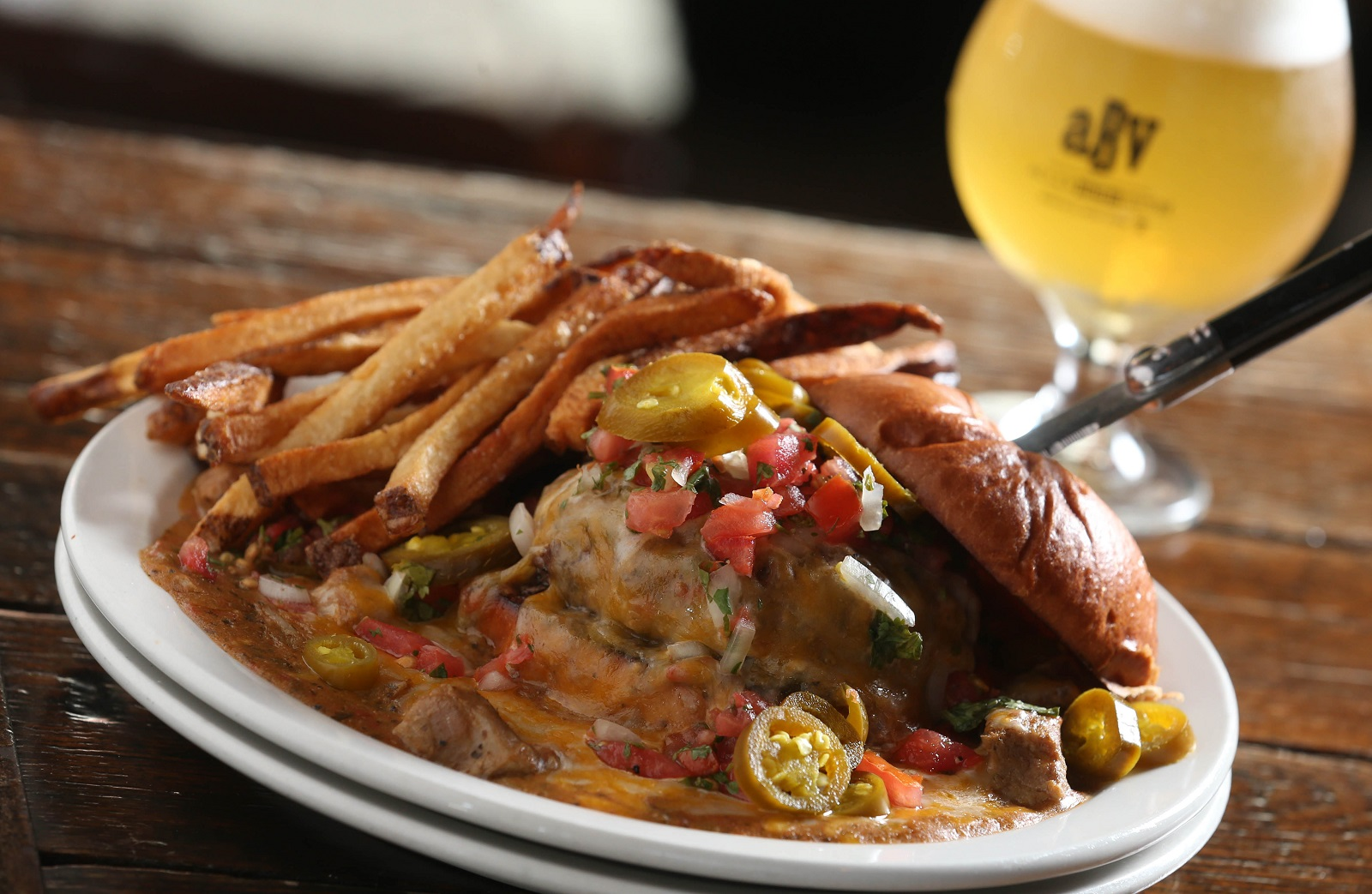 Colorado pork green chile burger from Allen Burger Venture. (Sharon Cantillon/Buffalo News)
