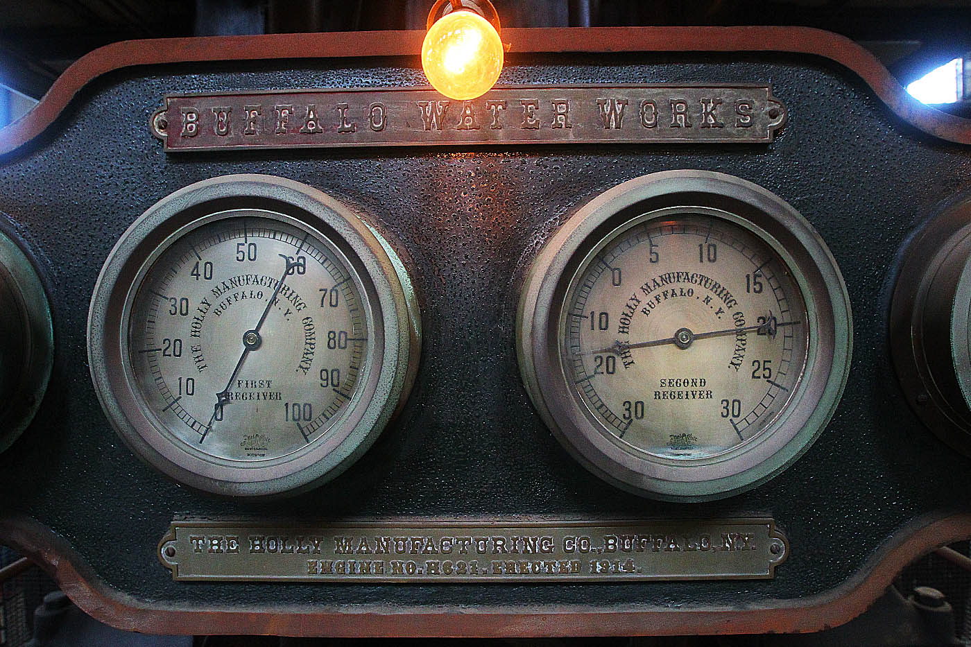 Gauges on the Holly Steam Pumps at the Col. Francis G. Ward Pumping Station on Porter Ave, in Buffalo, N.Y. , on Saturday Sept. 17, 2016, highlighted. Built by the Holly Manufacturing Co., Buffalo N.Y. in 1914, still complete and intact but taken offline in the late 70's early 80's. The five engines each stand 60 ft. tall and weigh in at 1100 tons apiece and capable of pumping up to 30,000,000 million gallons per day each. (John Hickey/Buffalo News)