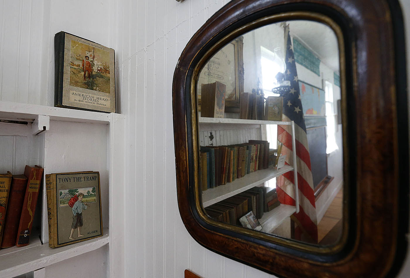 A mirror behind the teachers desk at the Schoolhouse #8 History Center and Museum in North Collins Sunday, Sept. 18, 2016. (Mark Mulville/Buffalo News)