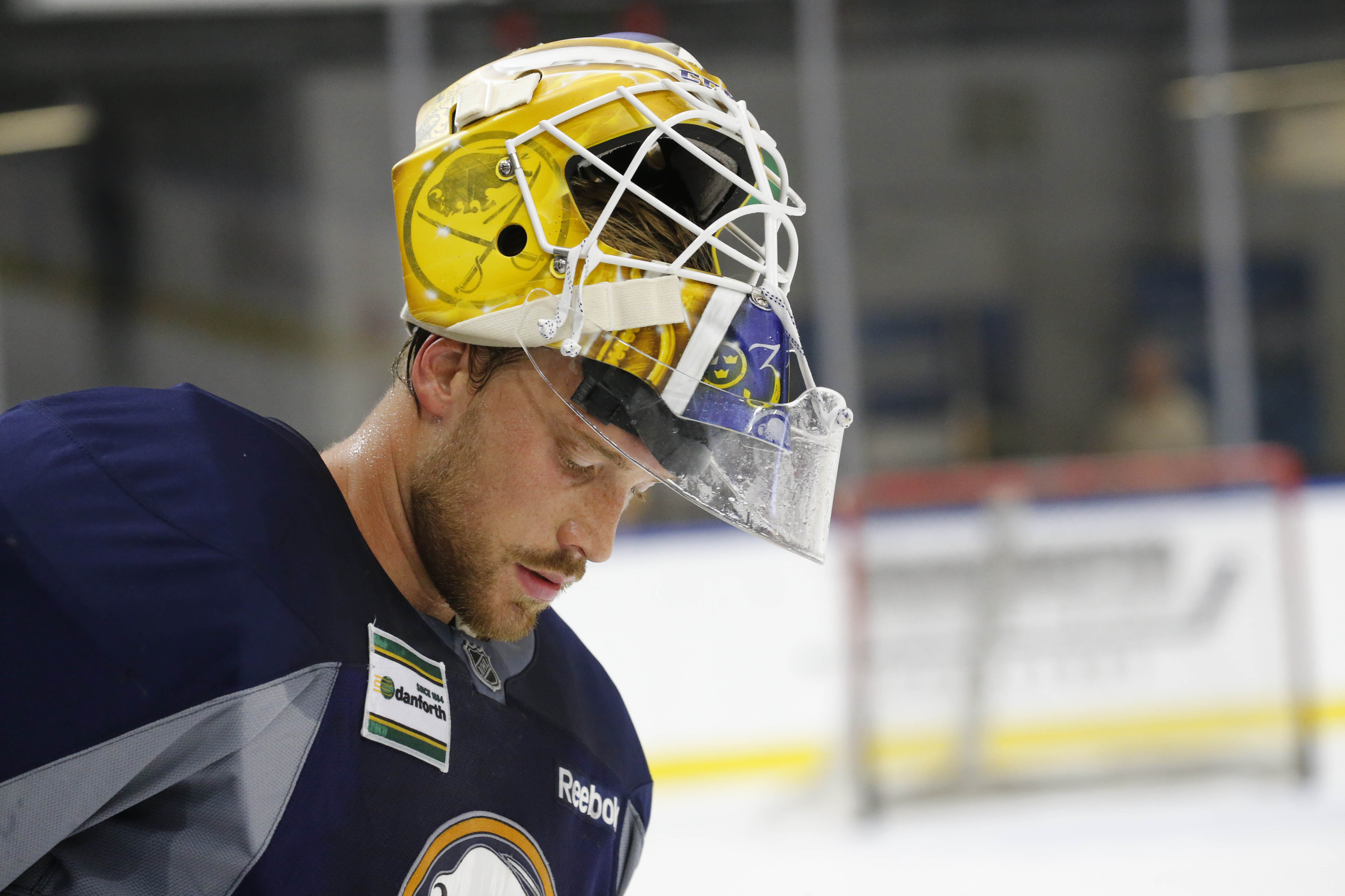 Goalie Anders Nilsson didn't give up any goals during intrasquad scrimmages or against the Leafs.  (Derek Gee/Buffalo News)