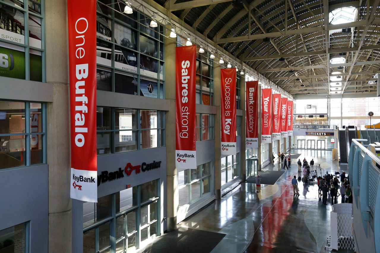 The banners an signs in the lobby for the official announcement of the naming of the KeyBank Center in Buffalo Monday, Sept. 19, 2016. (Mark Mulville/Buffalo News)