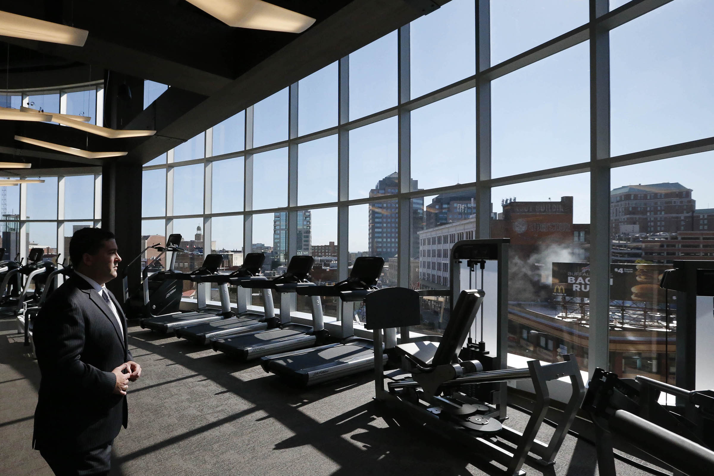 Thomas Long, general manager of the new Westin Hotel, shows off the fitness room during a tour, Wednesday, Sept. 21, 2016. (Derek Gee/Buffalo News)