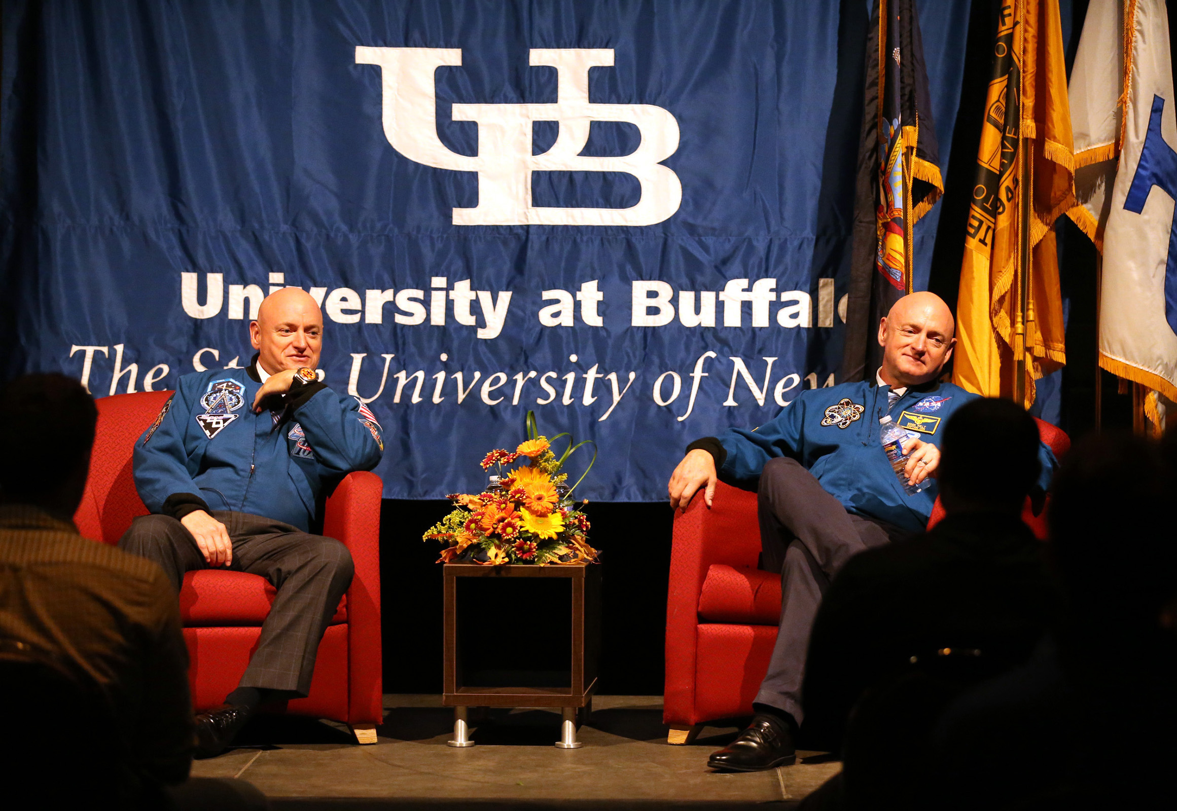 Identical brother astronauts Scott, left, and Mark Kelly meet with UB students and member so the Boys & Girls club for a Q&A session in the afternoon, Thursday, Sept. 22, 2016. They are scheduled to speak at 8 p.m. as part of the UB's Distinguished Speaker Series. (Sharon Cantillon/Buffalo News)
