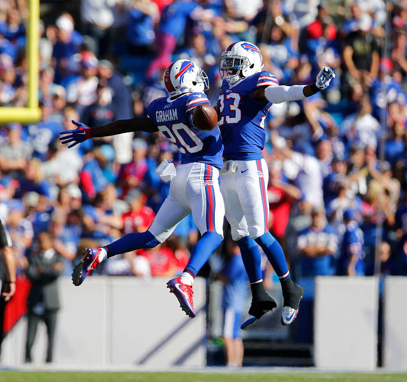 Buffalo Bills Corey Graham celebrates his interception with teammate Aaron Williams during the fourth quarter at New Era Field in Orchard Park, Sunday, Sept. 25, 2016. (Mark Mulville/Buffalo News)