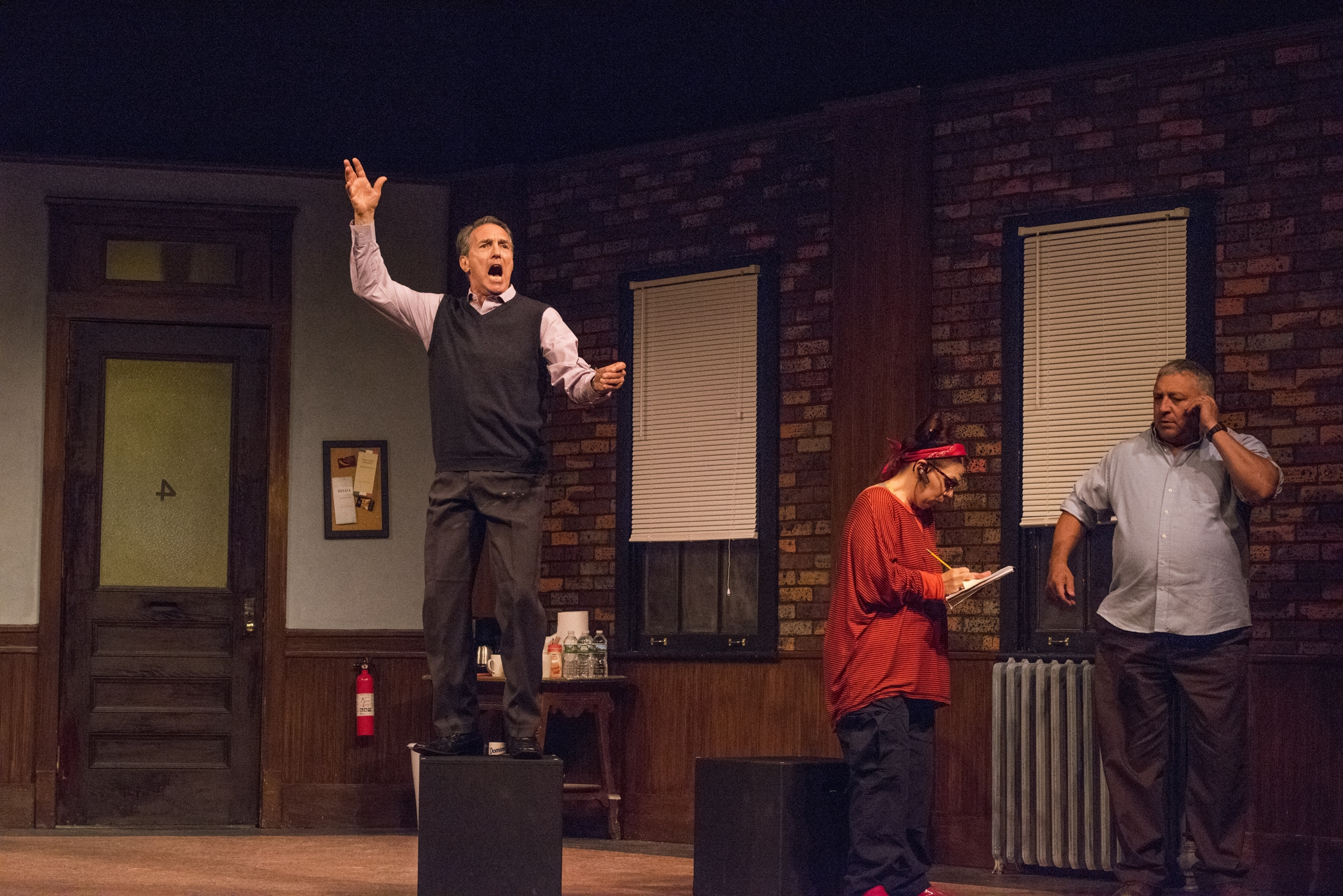 "Peter Palmisano, Wendy Hall and Steve Vaughan appear in the Kavinoky Theatre's production of Tom Dudzick's play ""Don't Talk to the Actors."""
