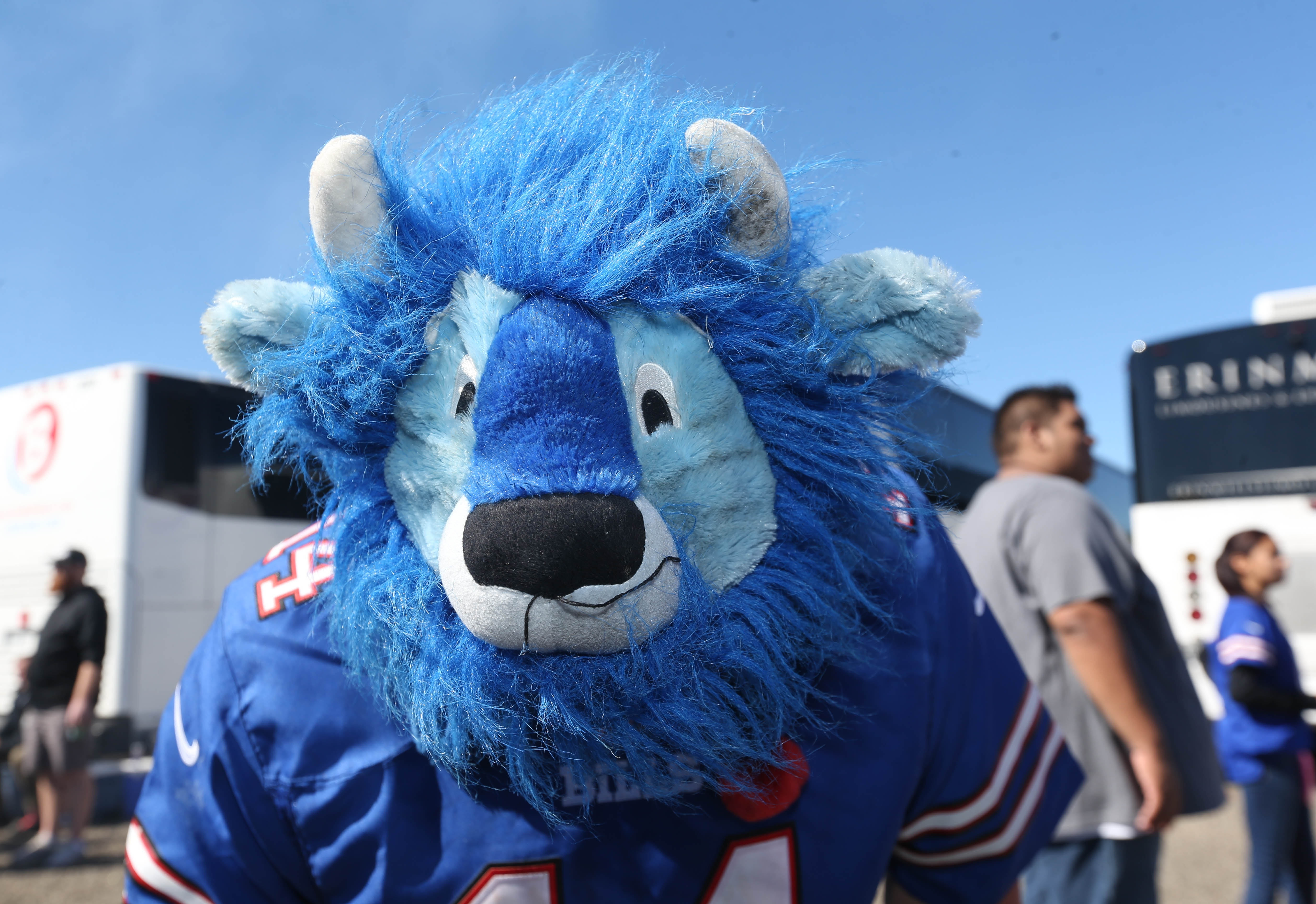Tailgating before a Buffalo Bills game is an integral part of game-day fun around New Era Field, in Orchard Park. Tailgaters bring an array of food and drink and visit with their neighbors prior to game time, Sunday, Sept. 25, 2016. Season ticket holder, Sean Kearnes of Cambridge, Ontario, wears a Billy Buffalo hat. He leans over to show the top of his hat. (Sharon Cantillon/Buffalo News)