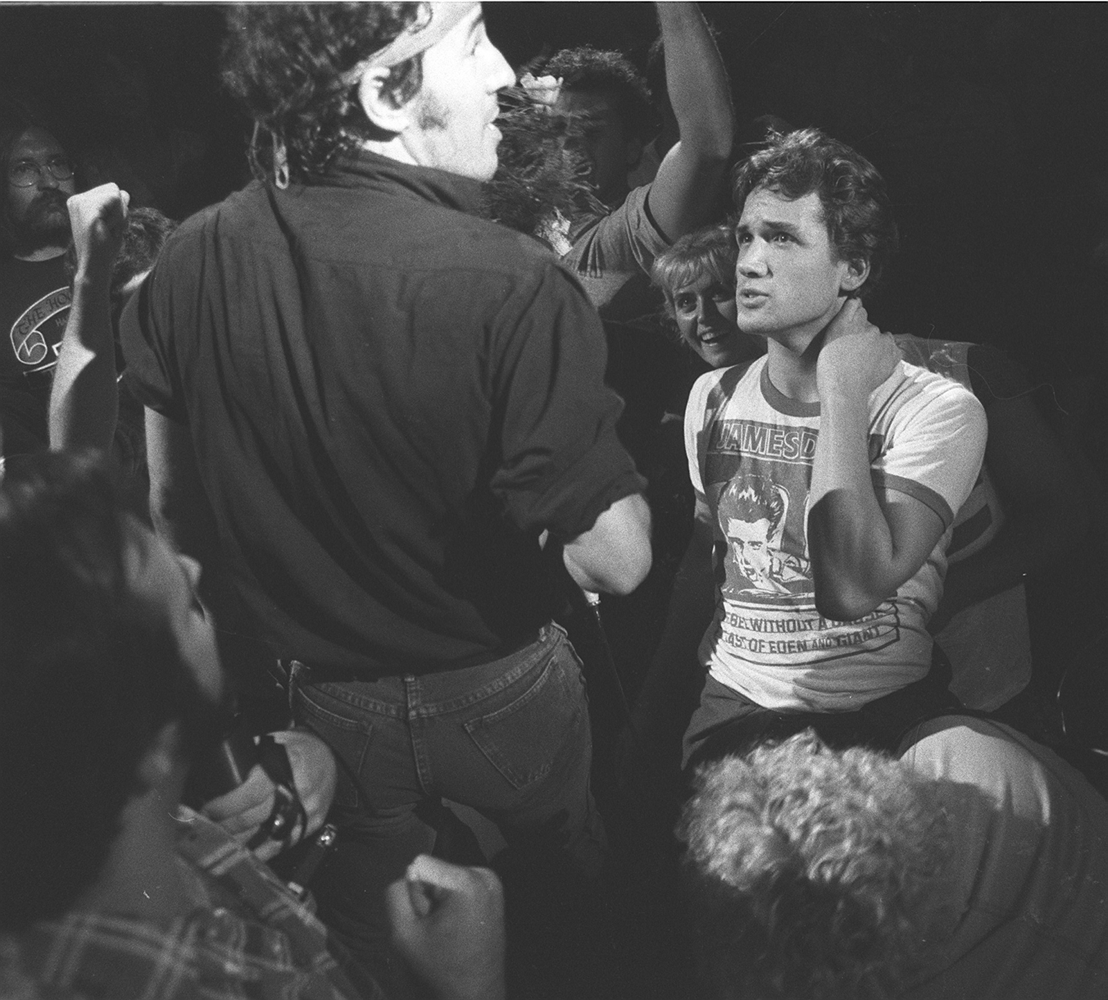 Bruce Springsteen with a fan at the 1984 show at the Aud. Anyone recognize the fan? (News file photo)