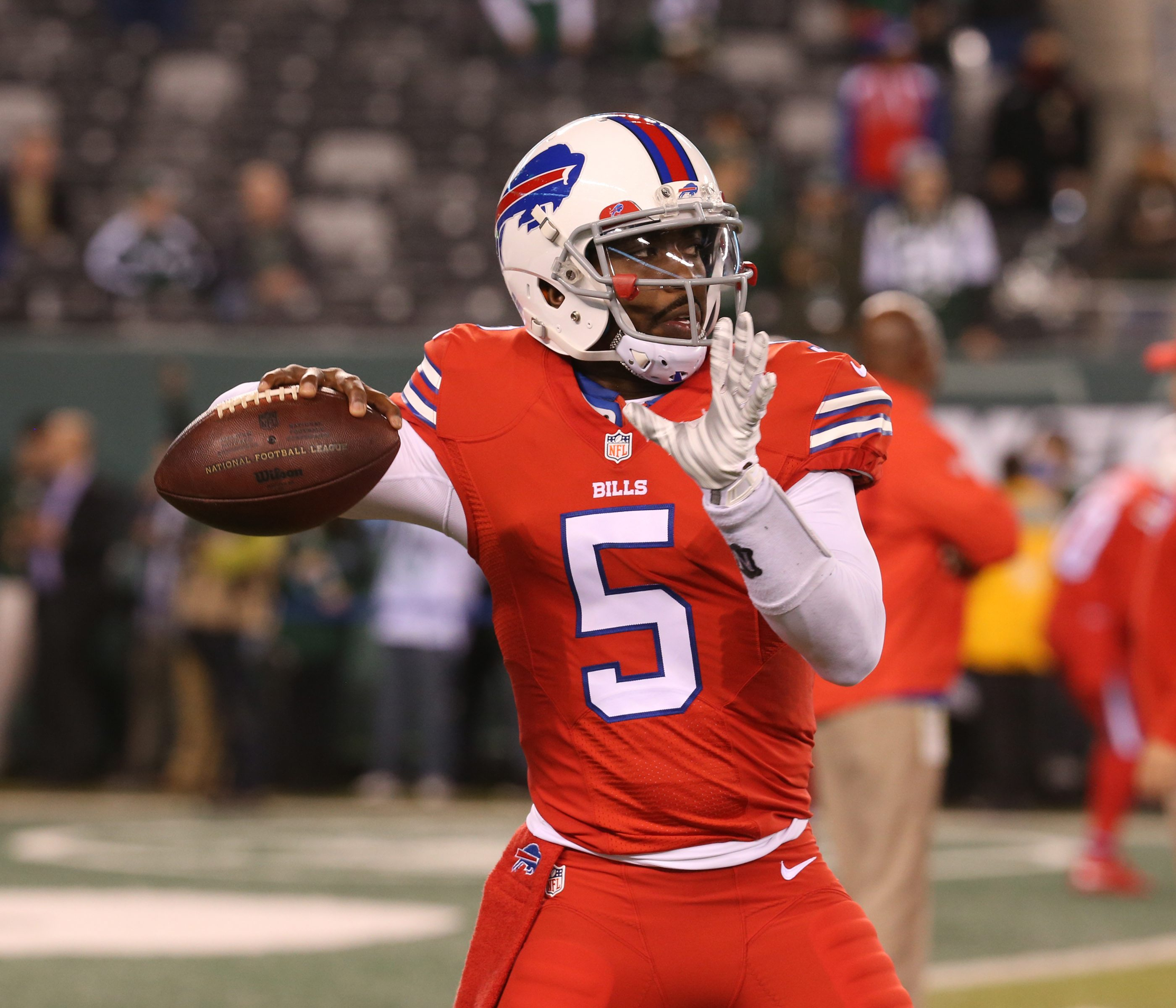 Bills quarterback Tyrod Taylor will don the red 'Color Rush' uniforms on Thursday night under clear skies in the inaugural tilt at New Era Field against the New York Jets. (James P. McCoy/Buffalo News)