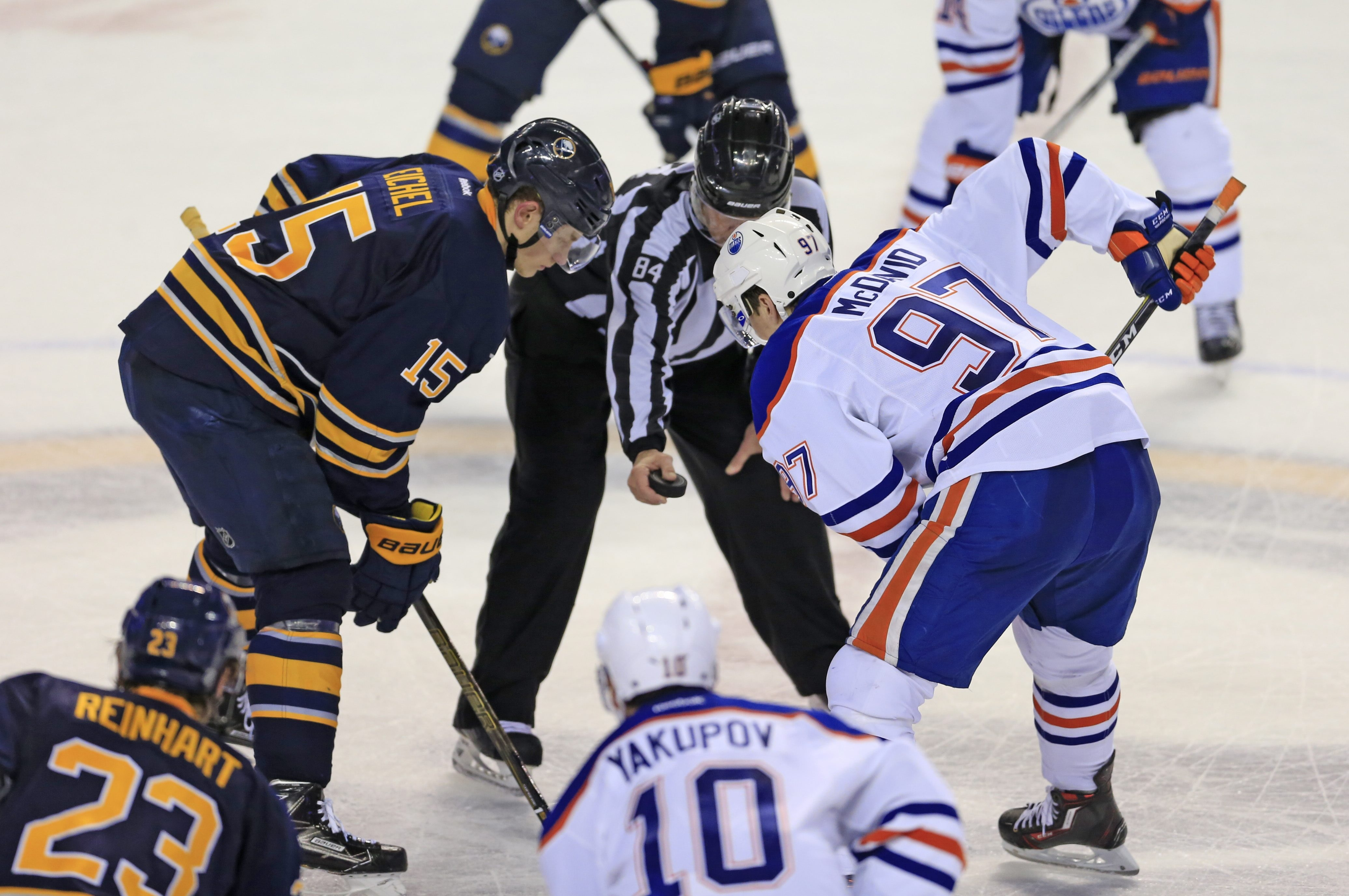 The Edmonton Oilers' Connor McDavid and Buffalo Sabres' Jack Eichel faced off  during the teams' matchup in Buffalo on March 1.