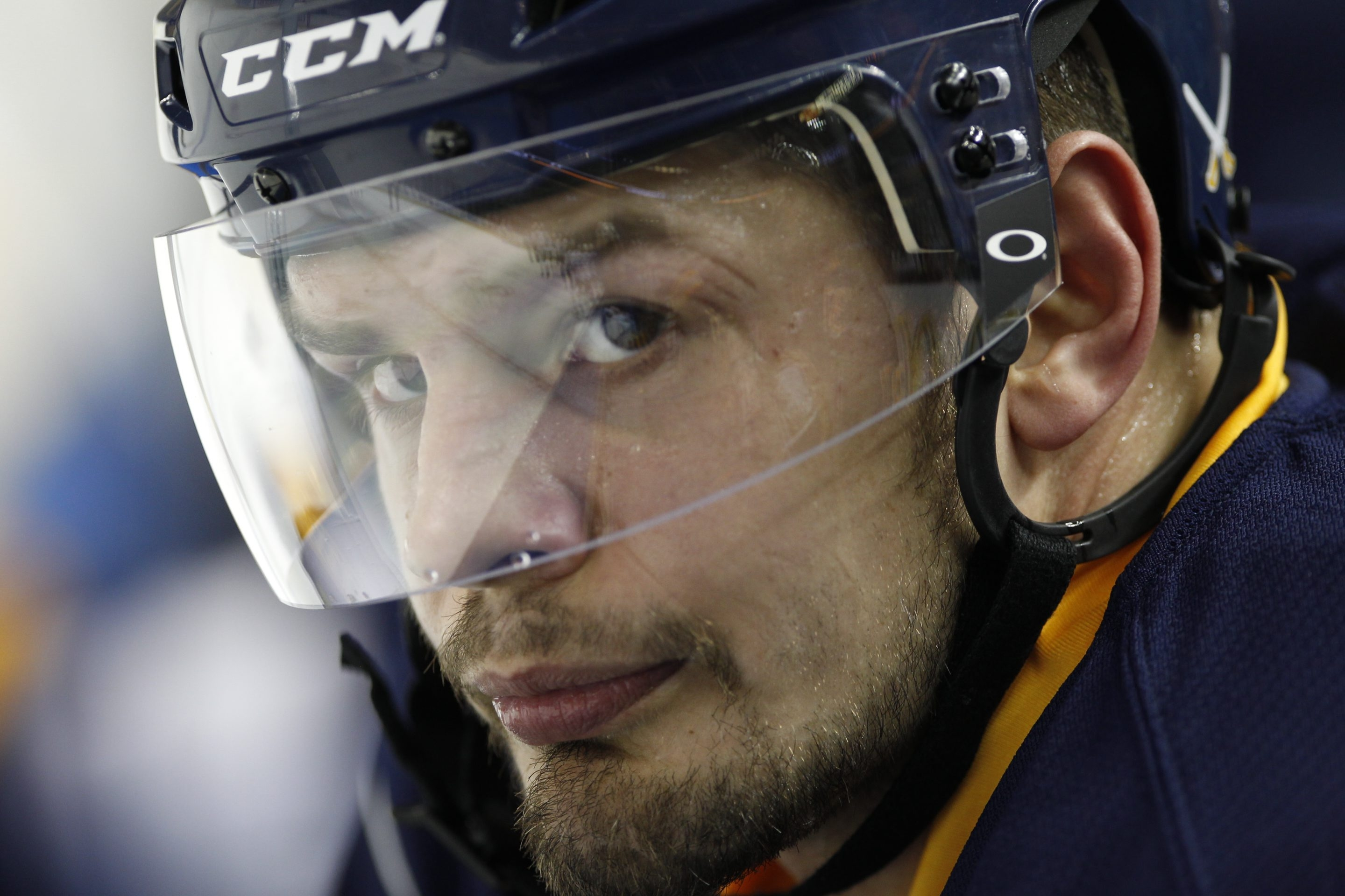 { to go with SPORTS STORY}  Buffalo Sabre player, Pat Kaleta (36) at the First Niagara Center, on Monday, Jan. 14, 2013.  {Photo by Harry Scull Jr. / Buffalo News}