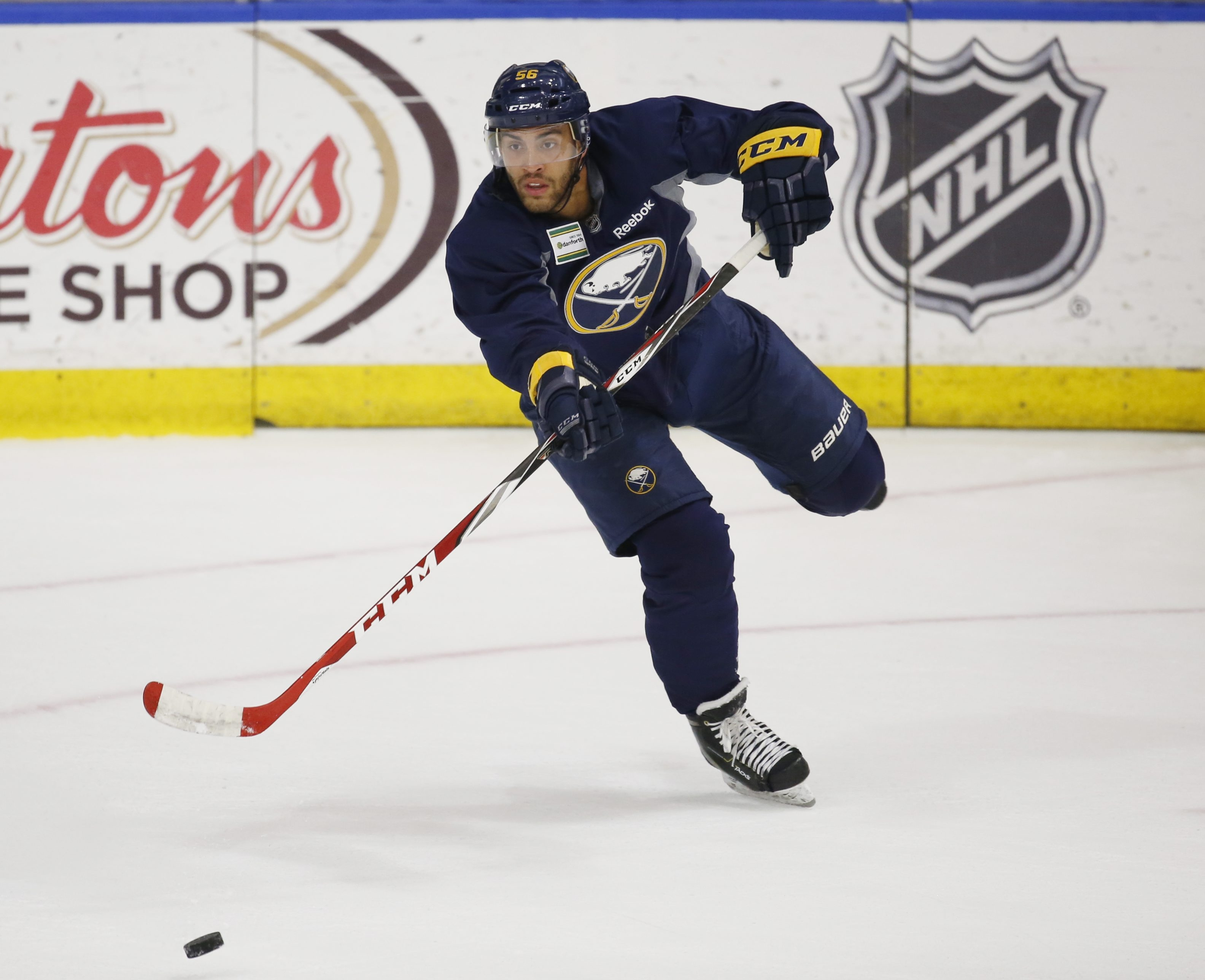 Buffalo Sabres prospect  Justin Bailey practices during development camp at the HarborCenter on July 6.
