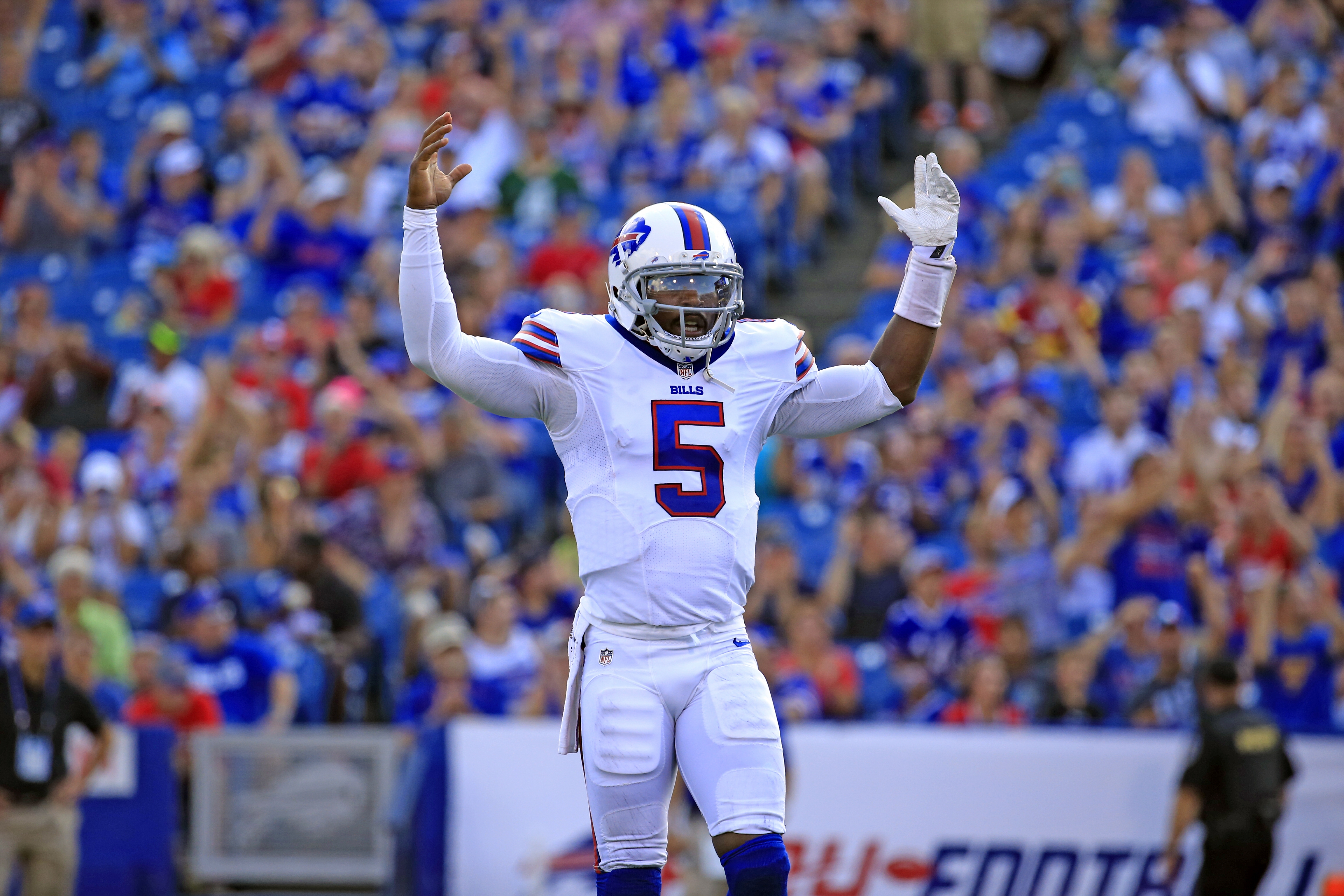 Buffalo Bills Tyrod Taylor celebrates a touchdown against the New York Giants during first quarter action at New Era Field on Saturday, Aug. 20, 2016. (Harry Scull Jr./Buffalo News)